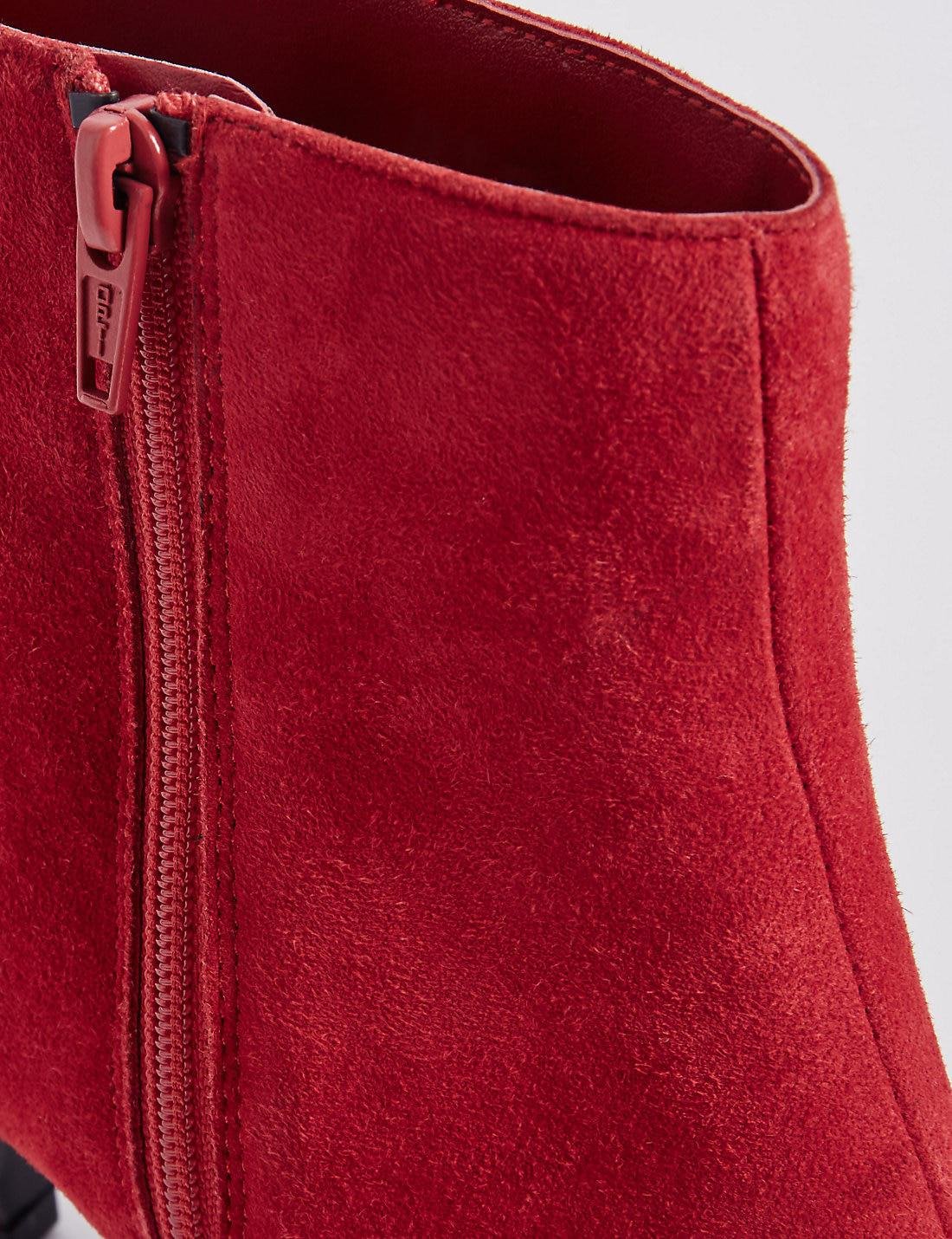 Marks Amp Spencer Wide Fit Leather Kitten Ankle Boots In Red