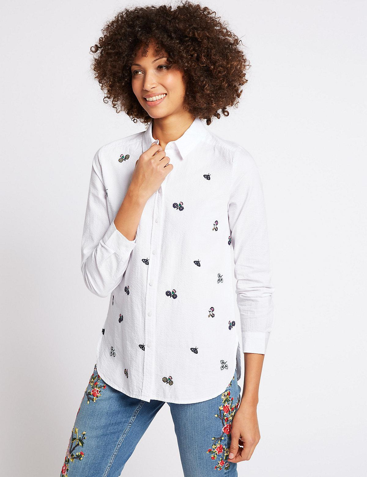 Lyst marks spencer pure cotton embroidered long sleeve