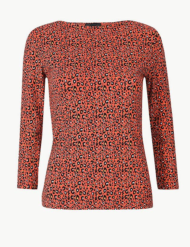 d25244bdc00 Lyst - Marks & Spencer Cotton Rich Animal Print Fitted T-shirt in Red