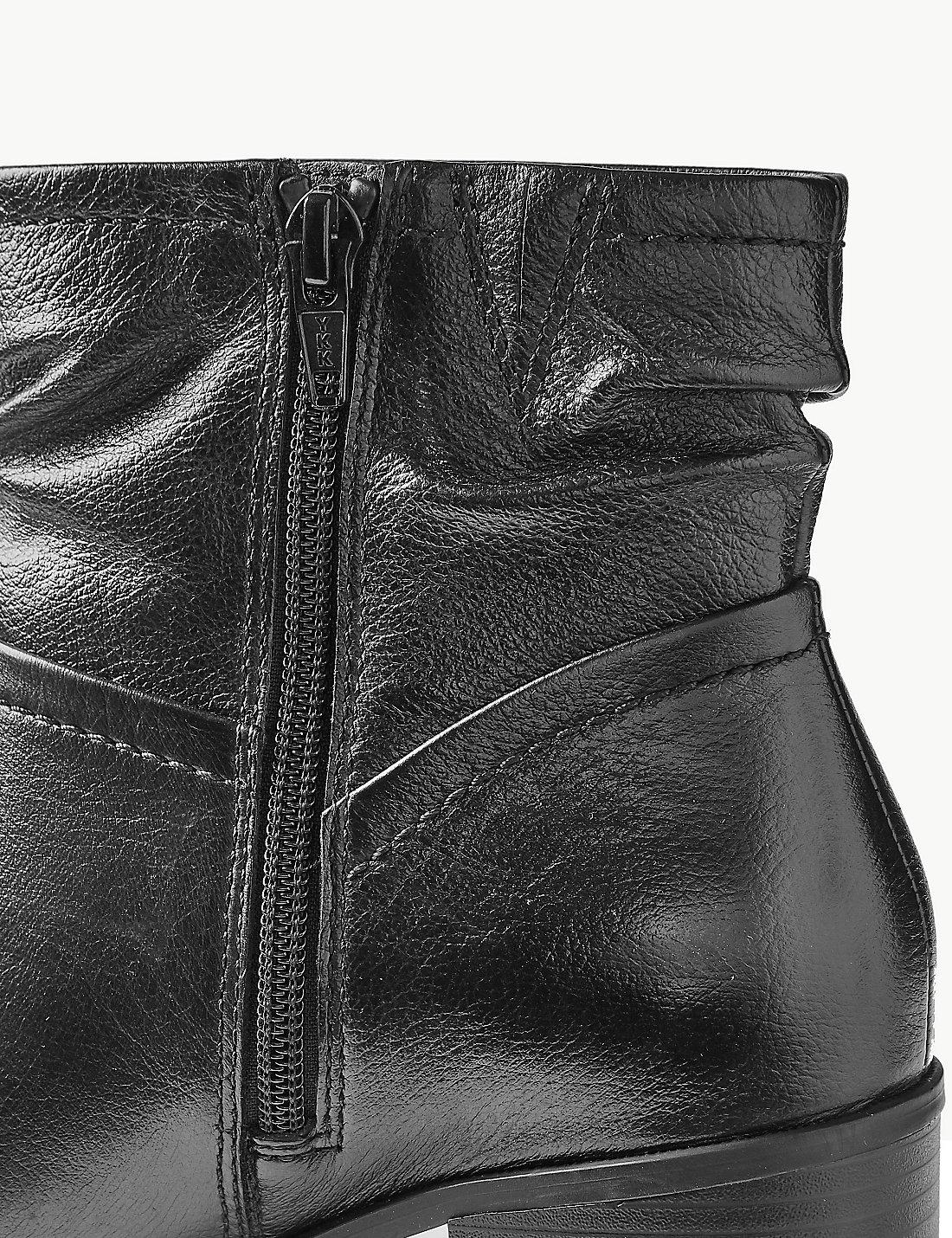 99cc1dbf385a Lyst - Marks & Spencer Leather Ruched Jeans Boots in Black