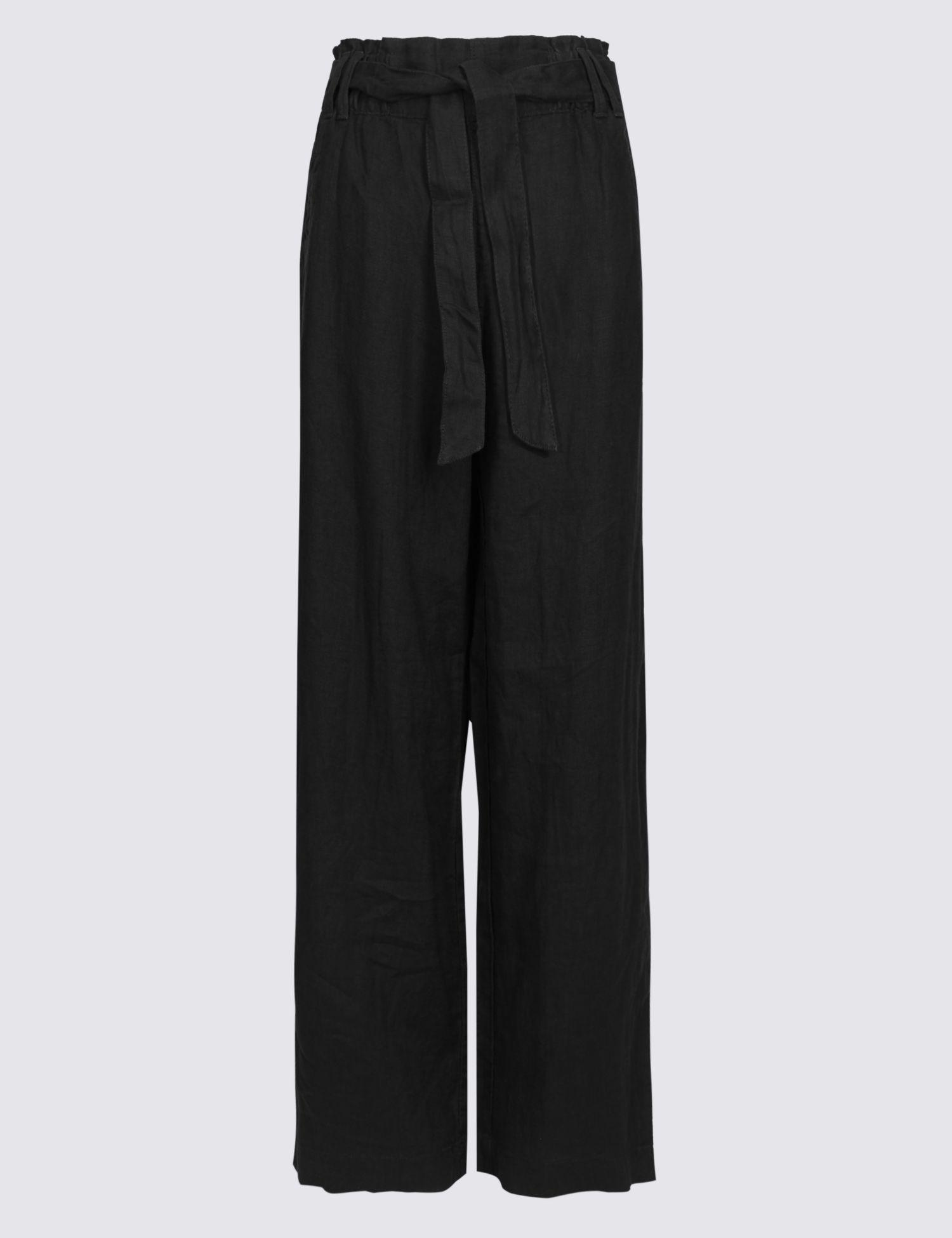 af547df4e27 Marks   Spencer Pure Linen Wide Leg Trousers in Black - Lyst