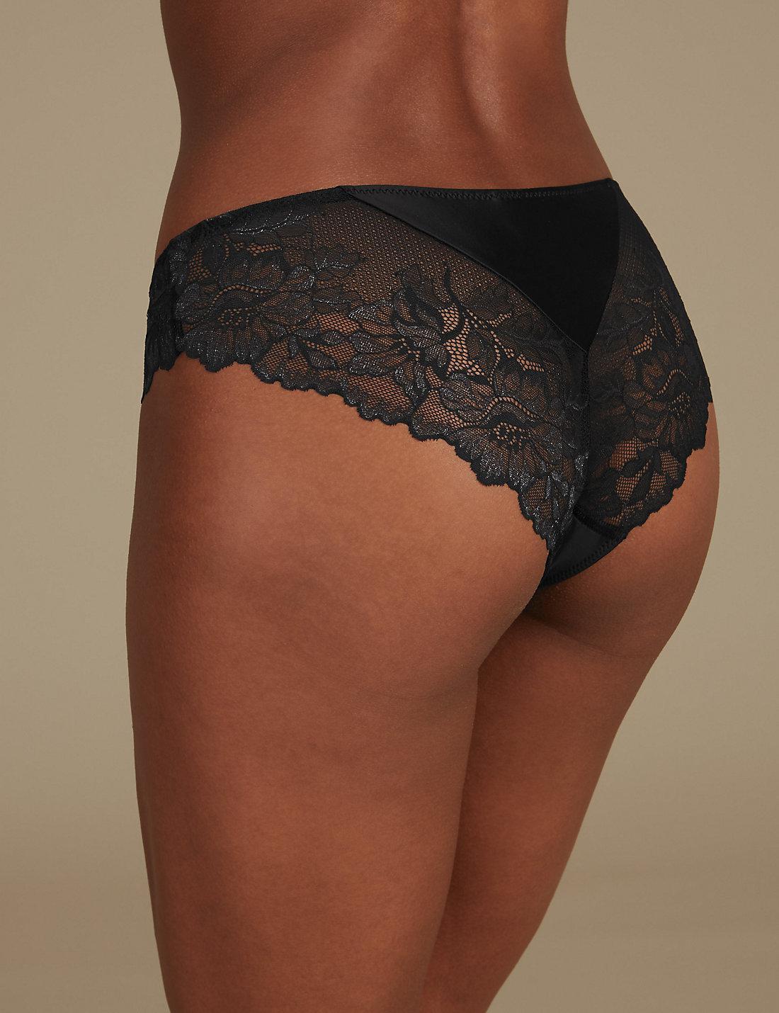 9f720a49a0 Lyst - Marks   Spencer Sheen   Lace Brazilian Knickers in Black