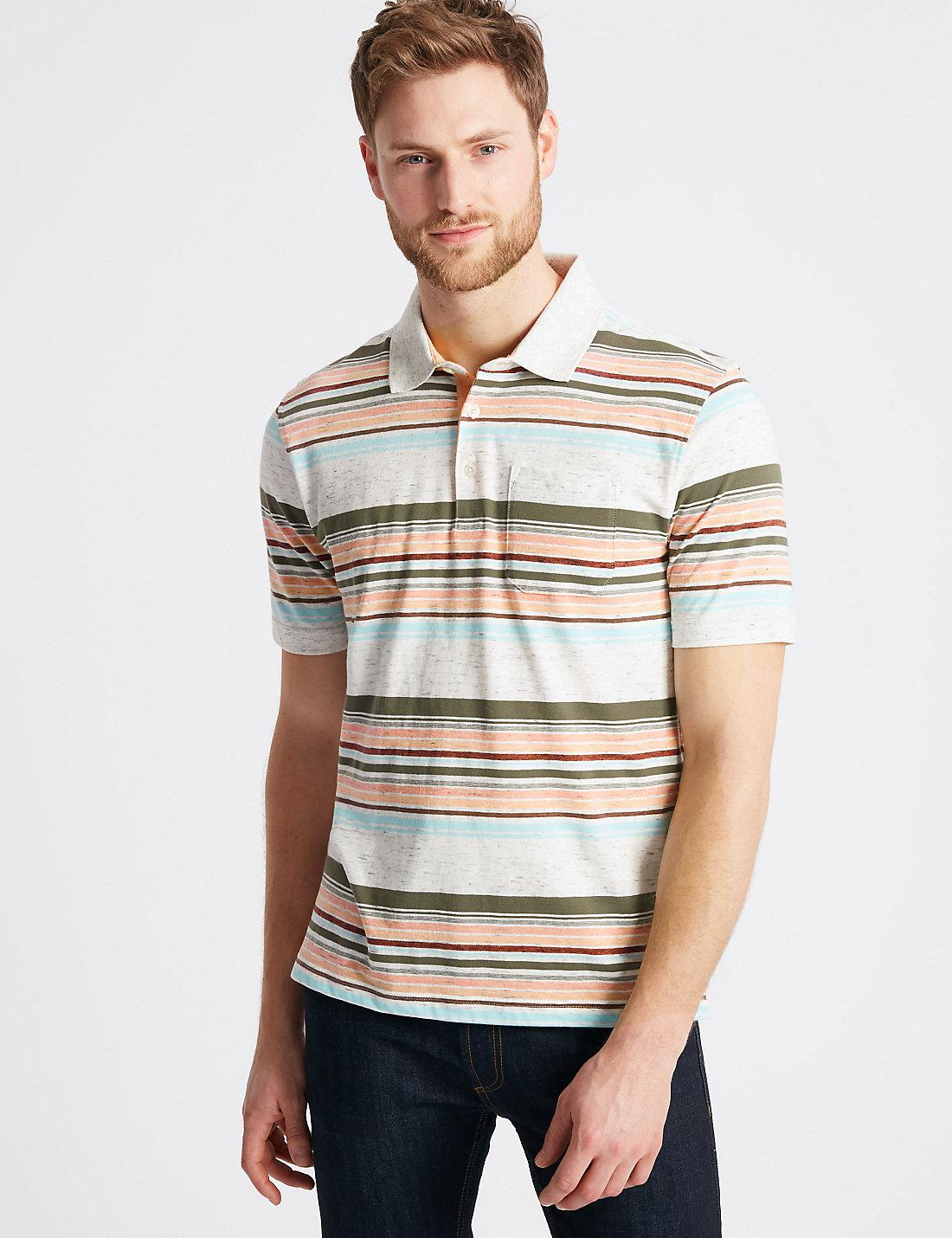 Ex Marks And Spencer Collection Striped Round Neck 3//4 Sleeve T-Shirt
