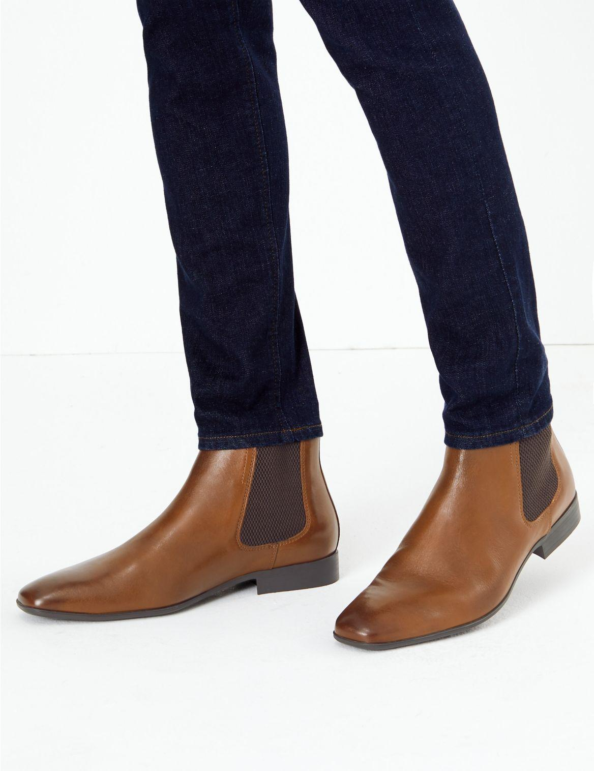newest available super quality Marks & Spencer Leather Chelsea Boots in Tan (Brown) for Men - Lyst