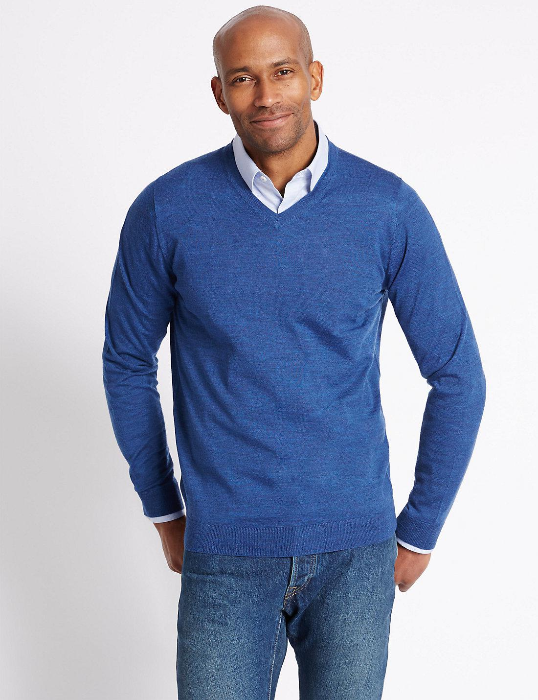 Lyst Marks Spencer Pure Merino Wool Jumper In Blue For Men