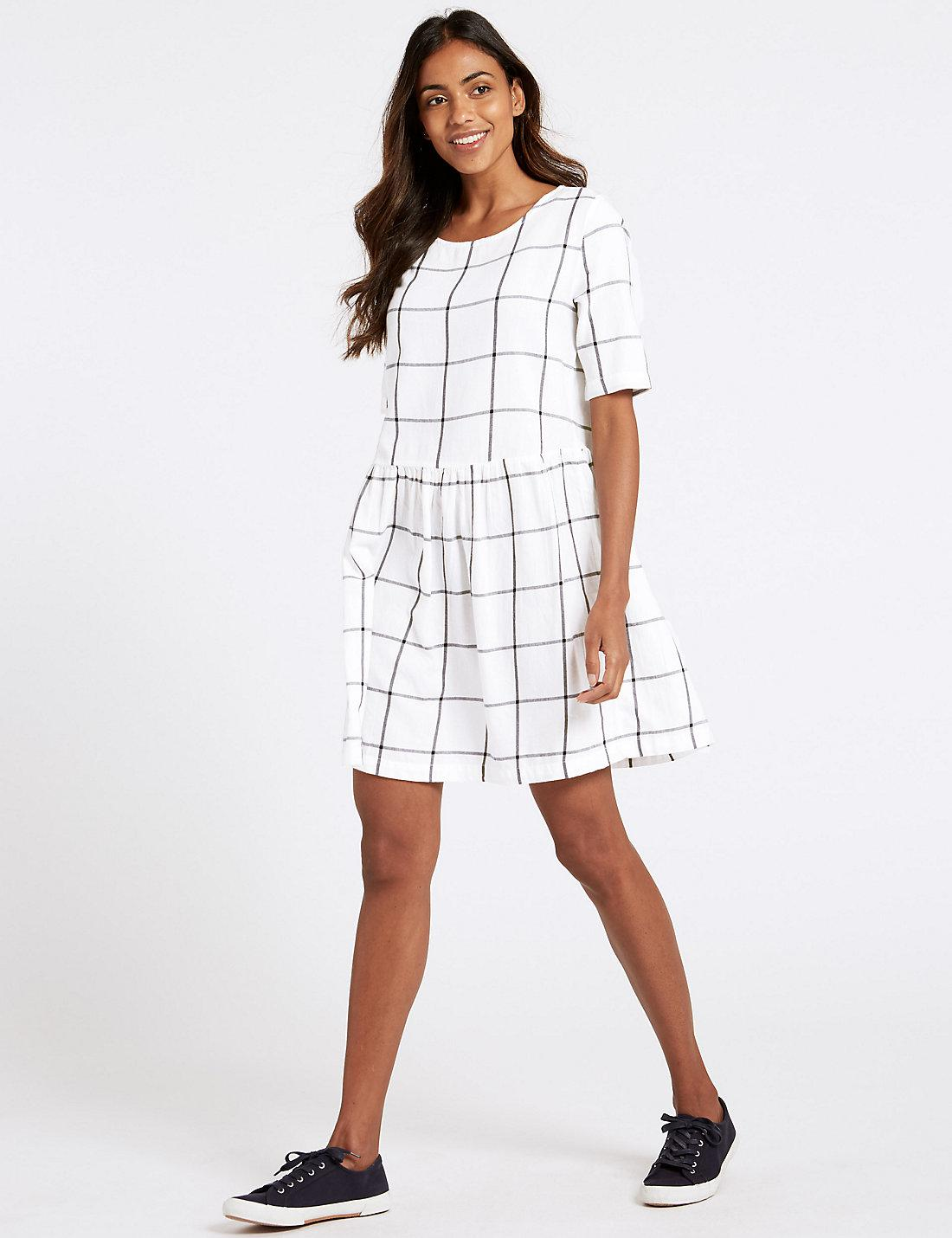 f63b094fdf Lyst - Marks & Spencer Pure Cotton Checked Drop Waist Dress in White