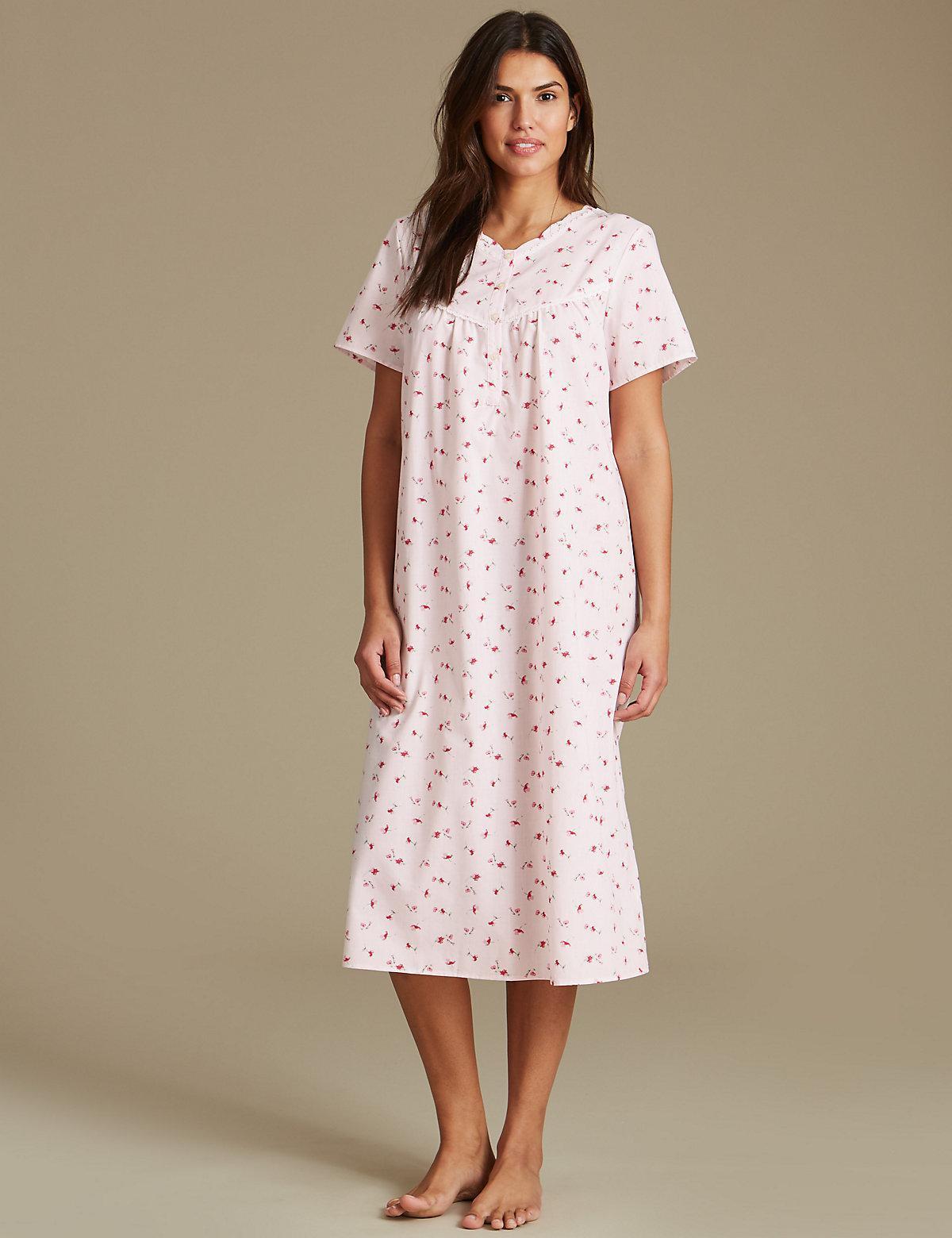 Marks   Spencer Floral Print Short Sleeve Nightdress - Lyst 5e79db980