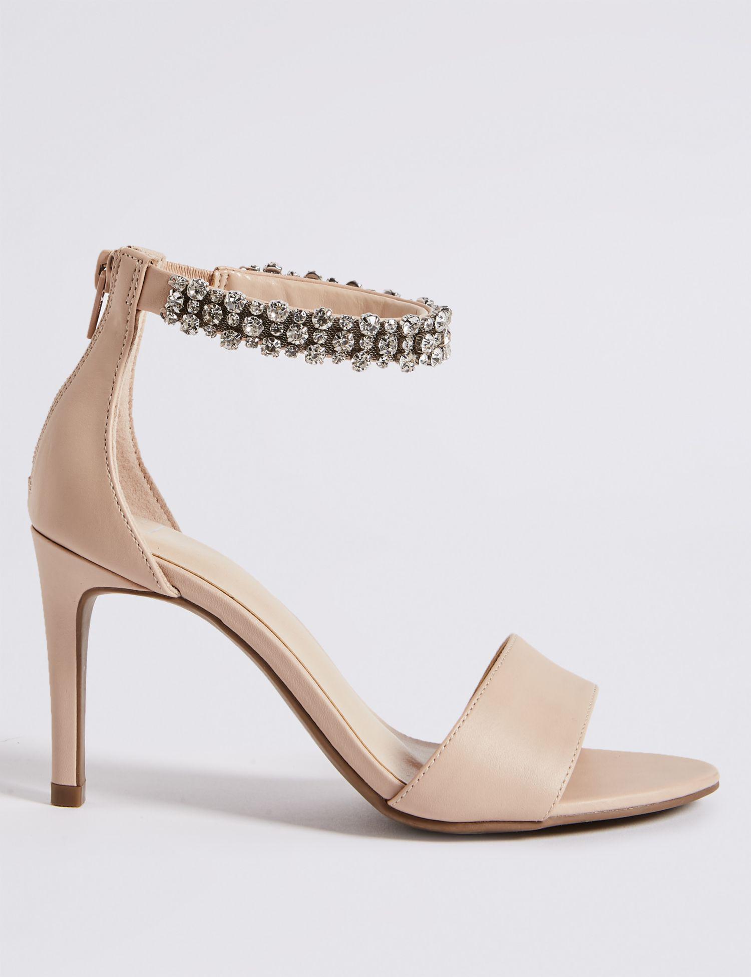 161f1bd8663 Marks   Spencer Stiletto Heel Jewel Ankle Strap Sandals in Natural ...