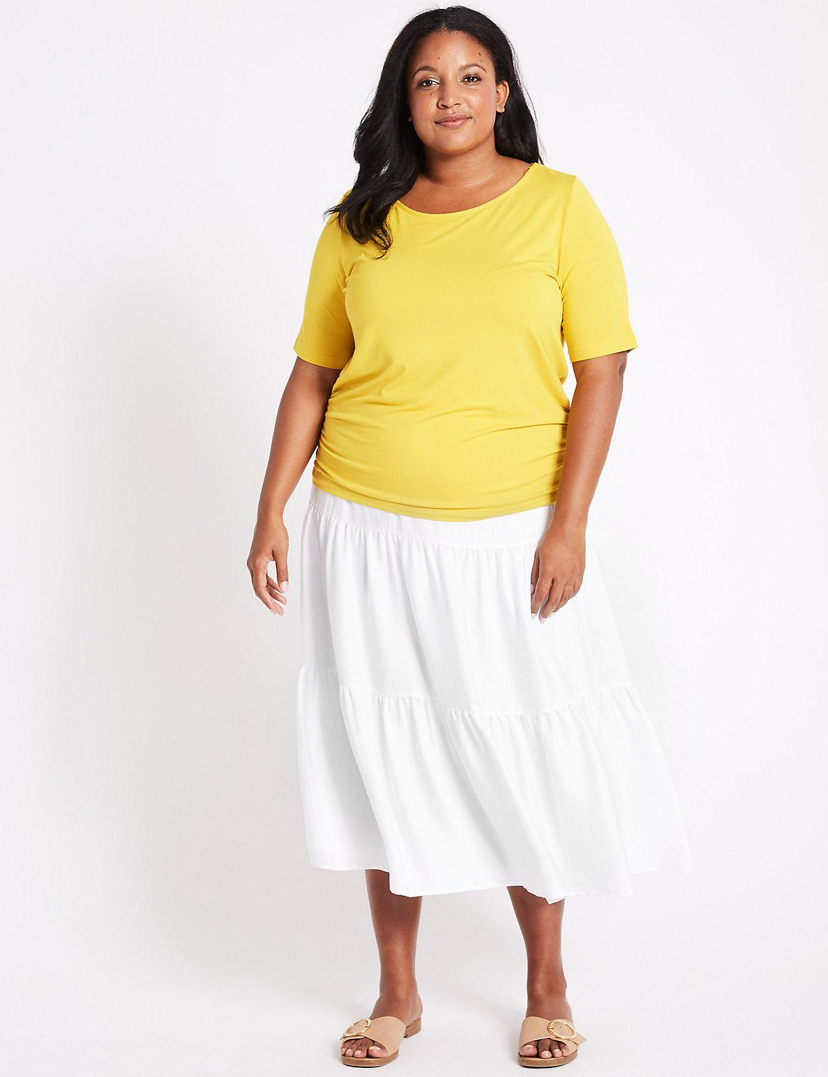 f1a104f91a Marks & Spencer Curve Tiered Full Maxi Skirt in White - Lyst