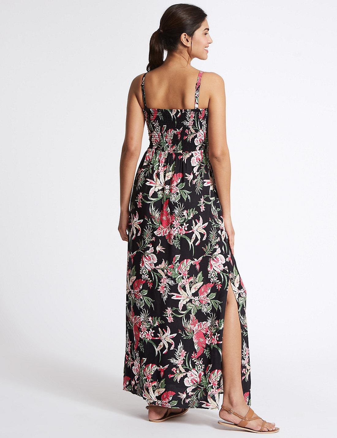 826fd70a947e Lyst - Marks   Spencer Floral Print Shirred Beach Dress in Black