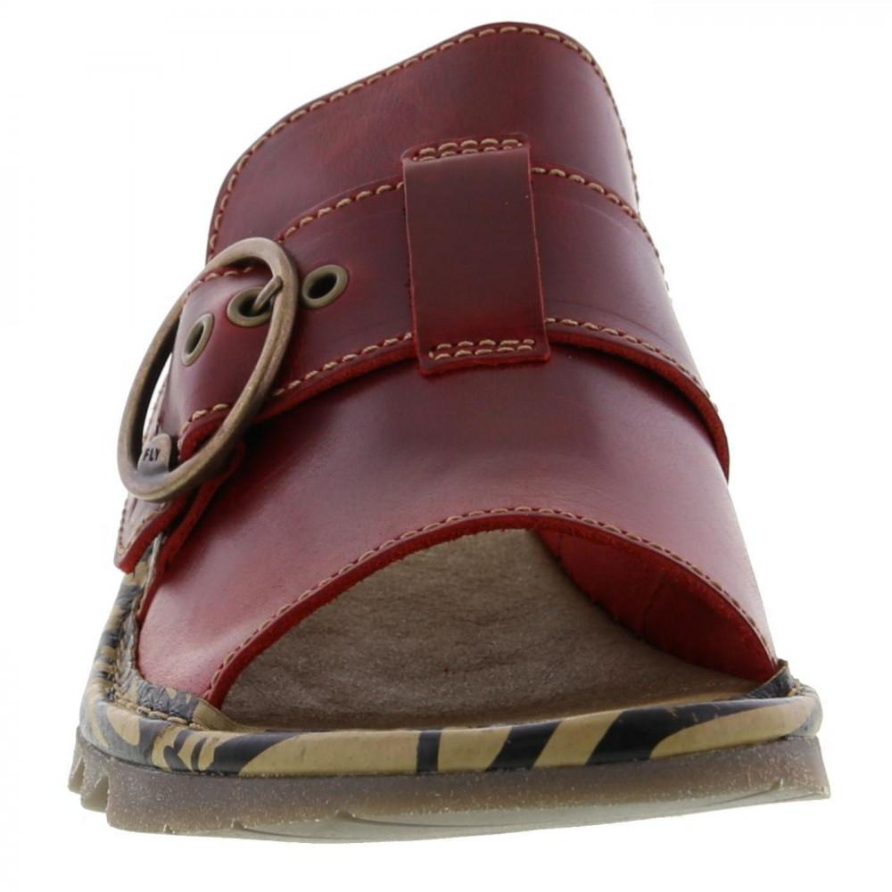 Ladies Fly London Tani Camel Leather Wedge Mules.