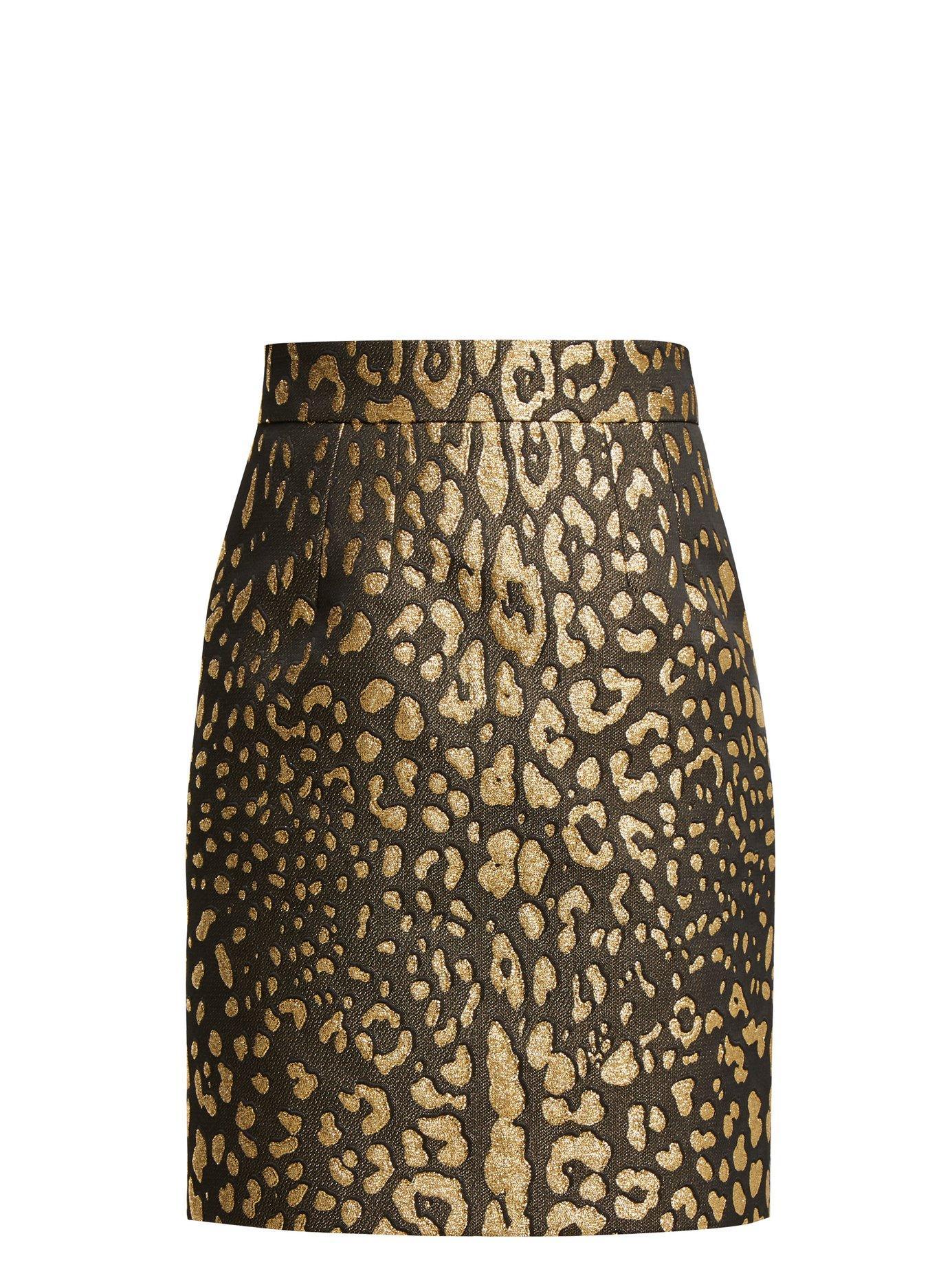 464a920cc63959 Dolce & Gabbana. Women's Black Leopard Print High Rise Jacquard Mini Skirt