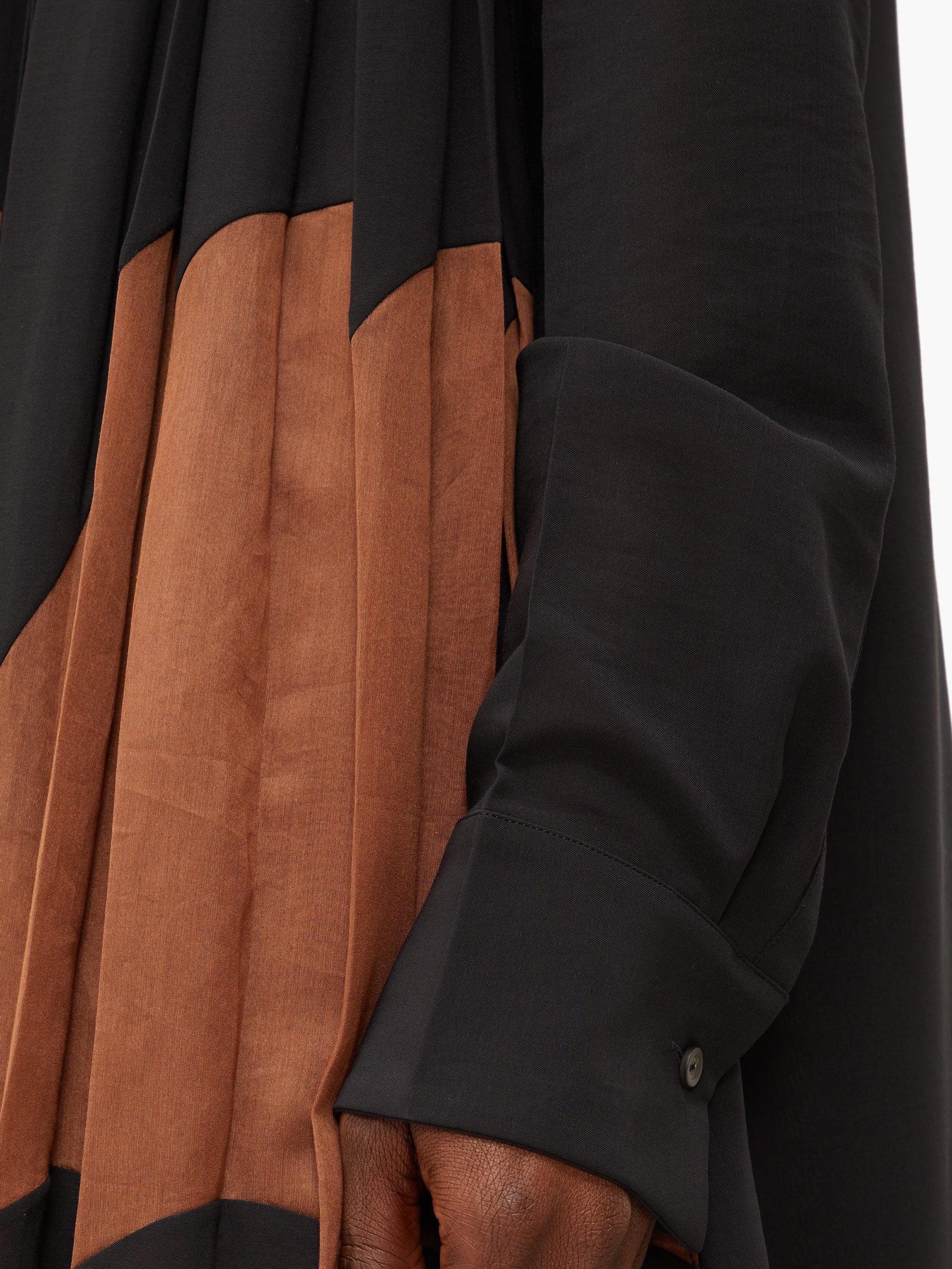 Robe-chemise asymétrique plissée en crêpe de coton Jil Sander en coloris Noir