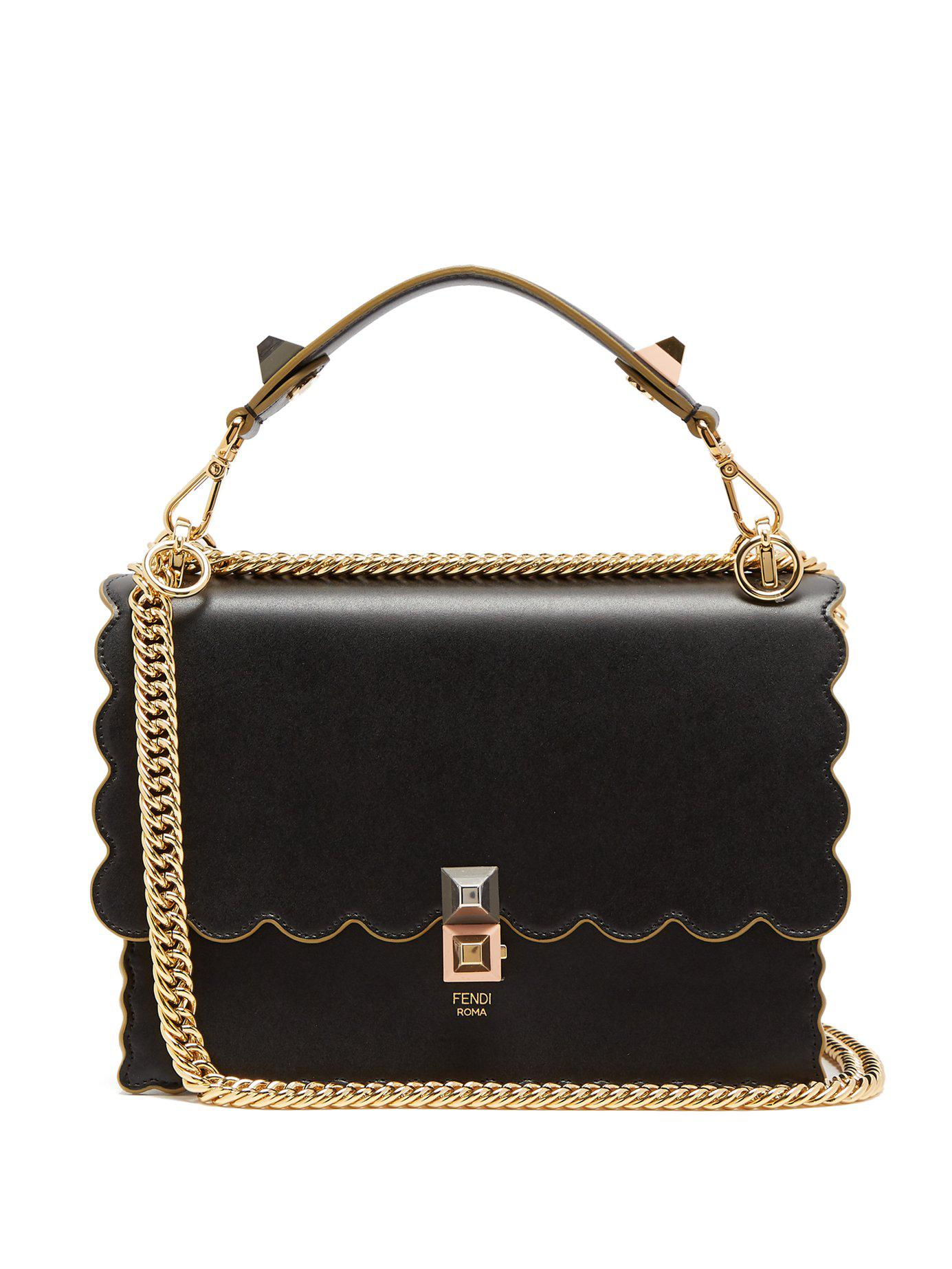 96d6216a0a3e Lyst - Fendi Kan I Leather Shoulder Bag in Black - Save 3%