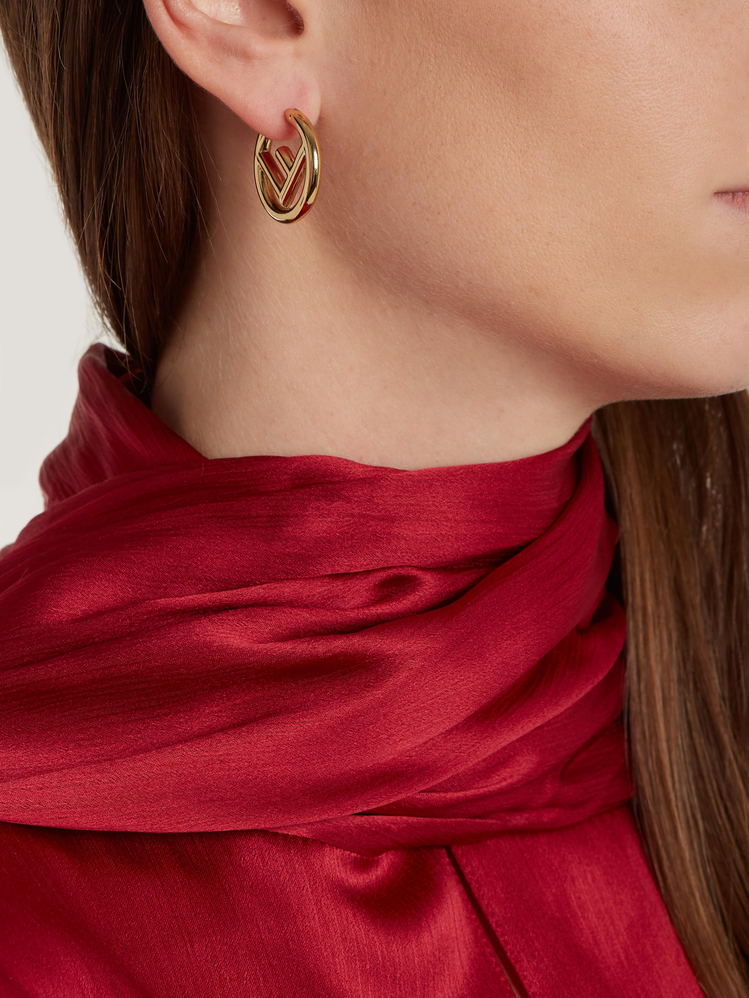 e7be40bf615965 Fendi F Is Small Hoop Earrings in Metallic - Lyst