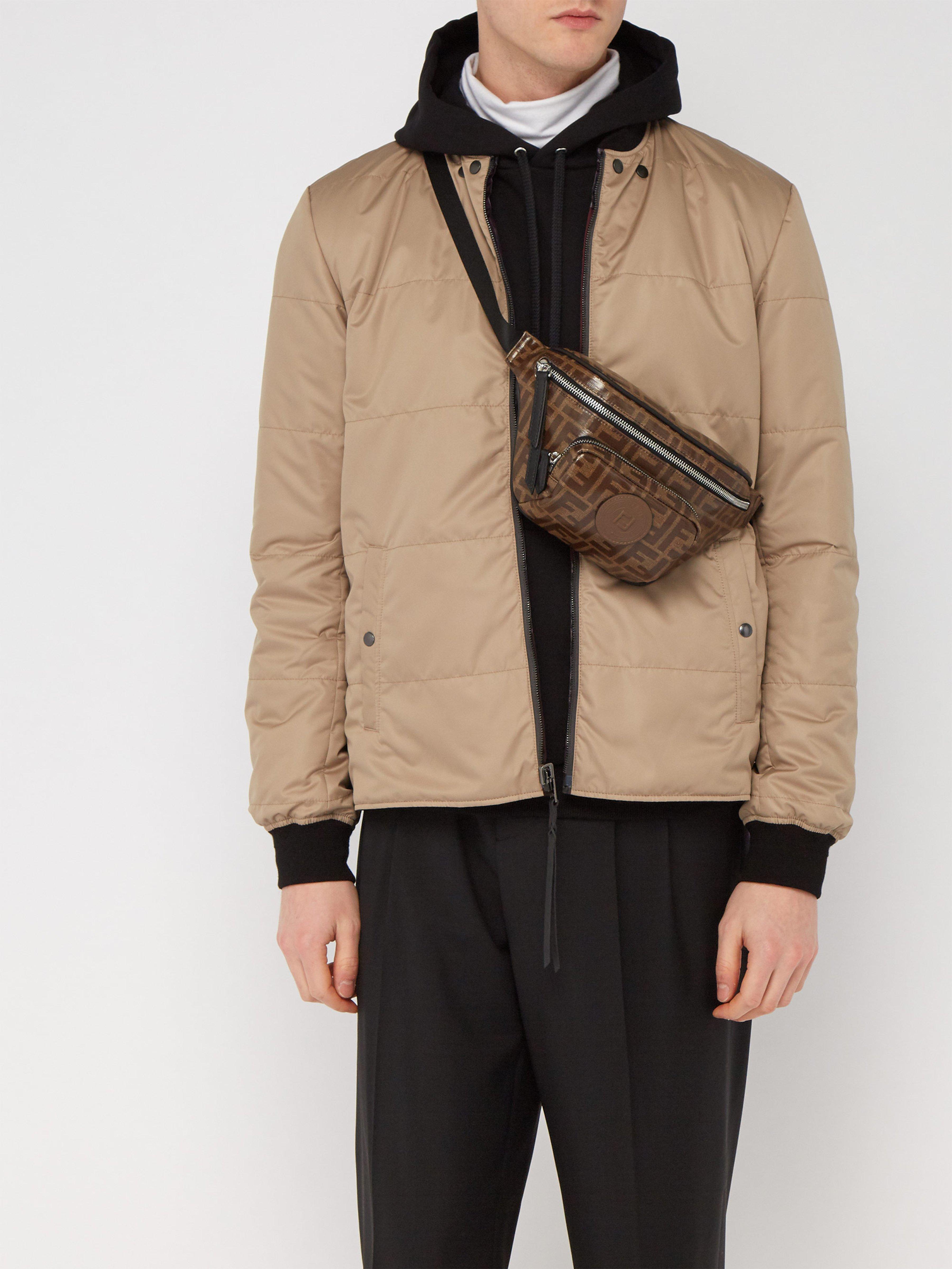 fb1ea74c Fendi Brown Ff Logo Jacquard Canvas Belt Bag for men