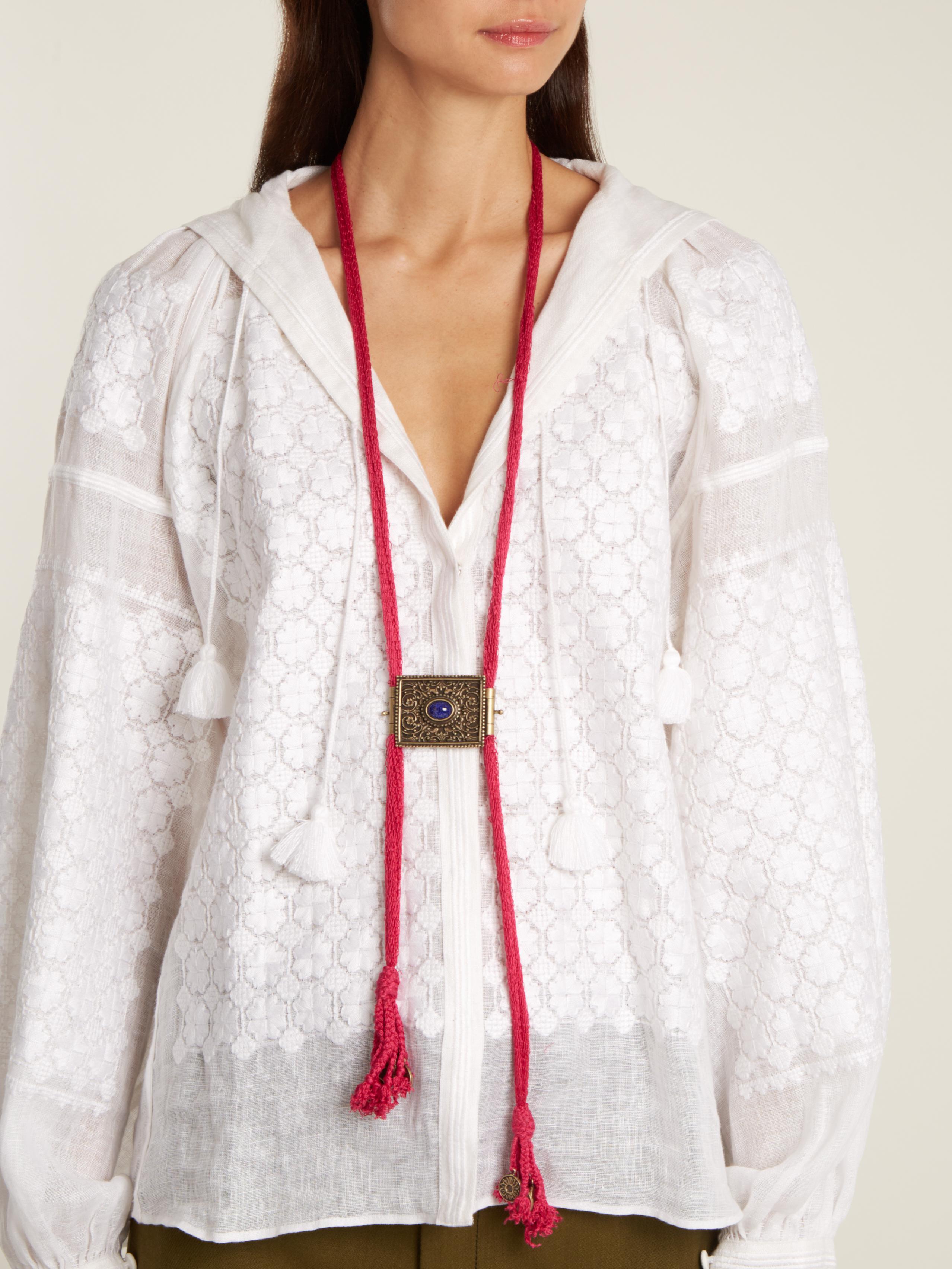 Etro Silk Tassel-embellished Engraved Necklace