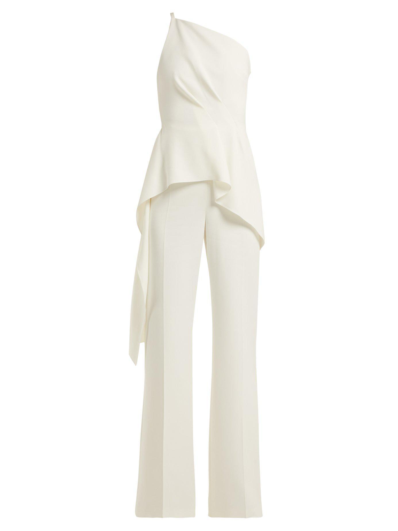 0d1d3f505ac Lyst - Roland Mouret Charlesworth Asymmetric Peplum Jumpsuit in White