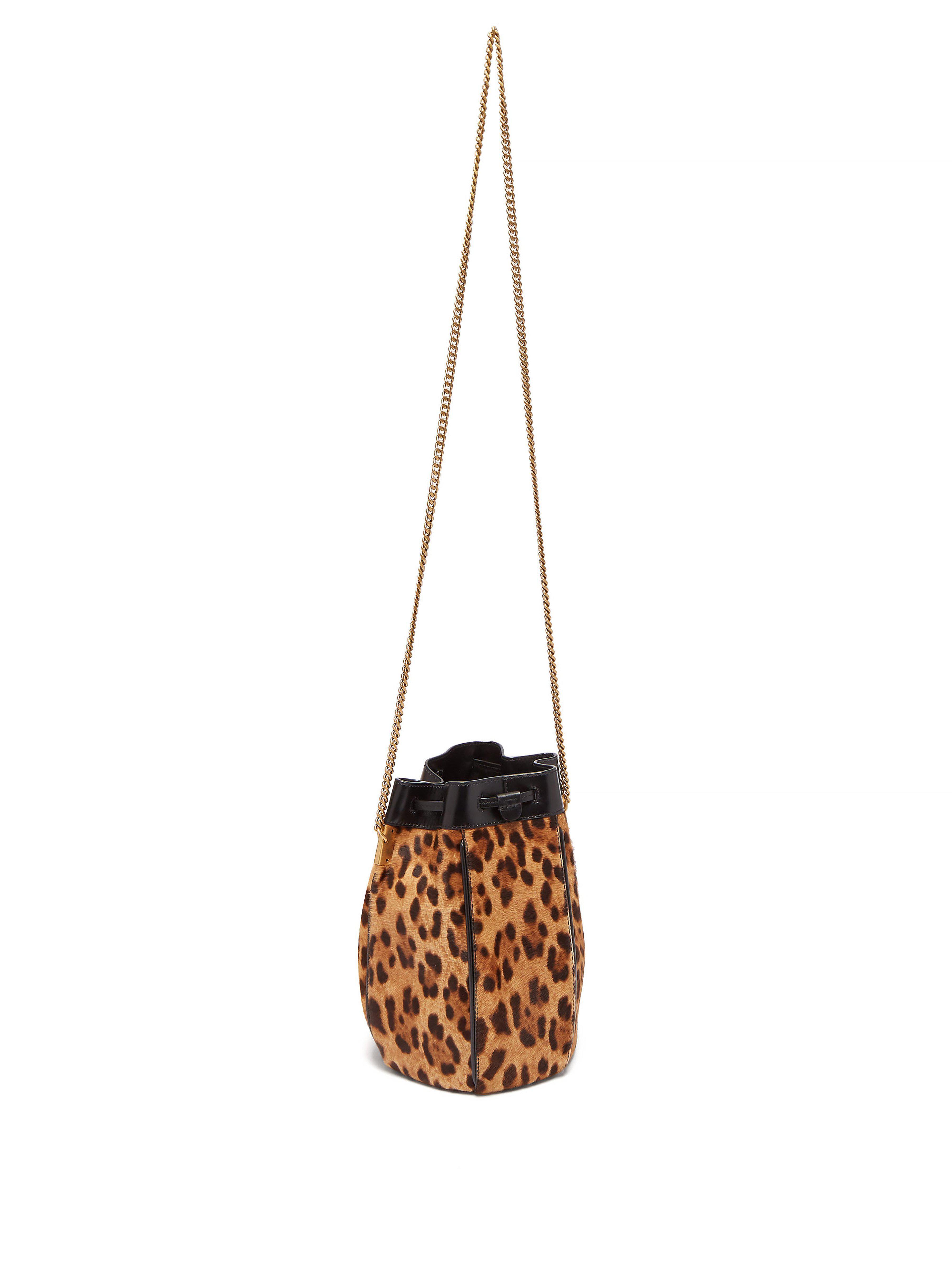 f32c095d5815 Saint Laurent - Multicolor Talitha Leopard Print Calf Hair Bucket Bag -  Lyst. View fullscreen