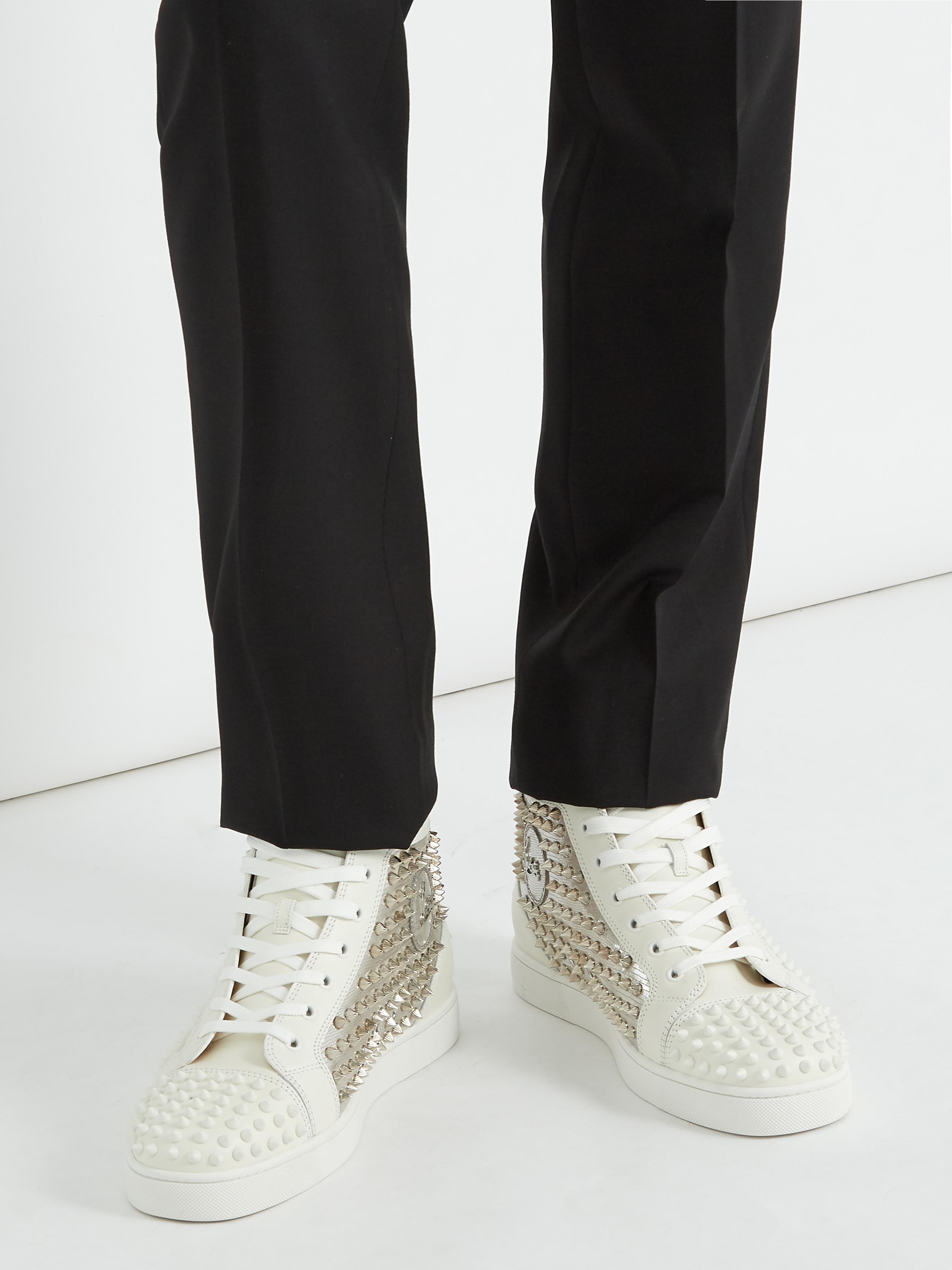 buy online 6b888 0880b Christian Louboutin Metallic Yang Louis High-top Spike-embellished Trainers  for men