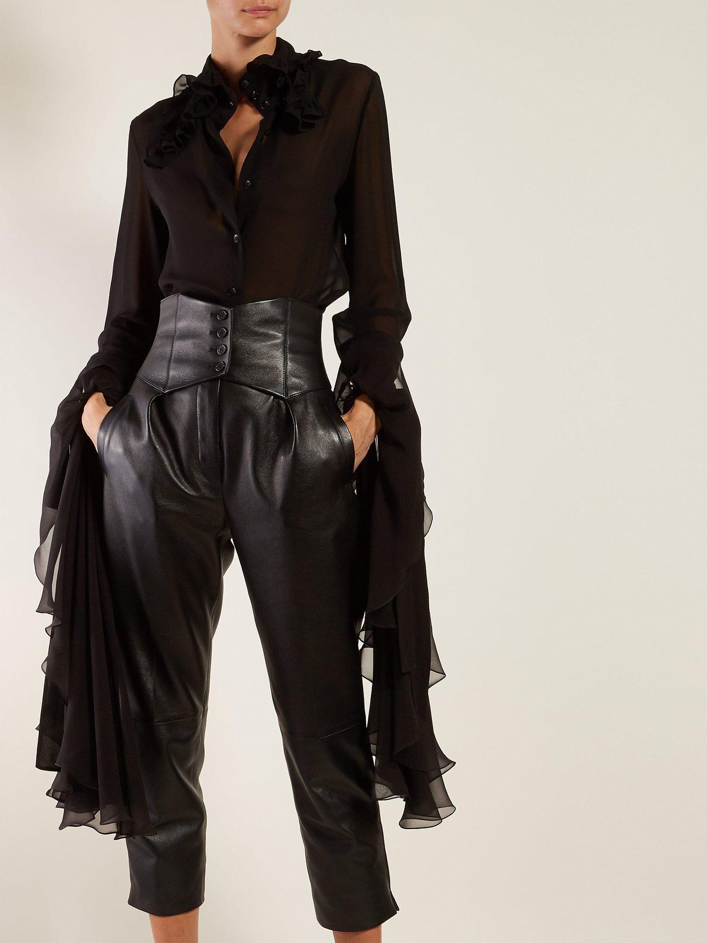 5796c60b027fed Lyst - Saint Laurent Ruffled Trim Georgette Blouse in Black