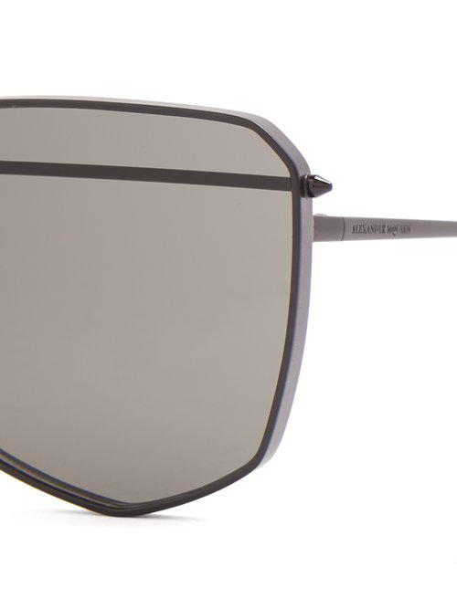 Alexander McQueen Angular-frame Metal Sunglasses in Grey (Grey)