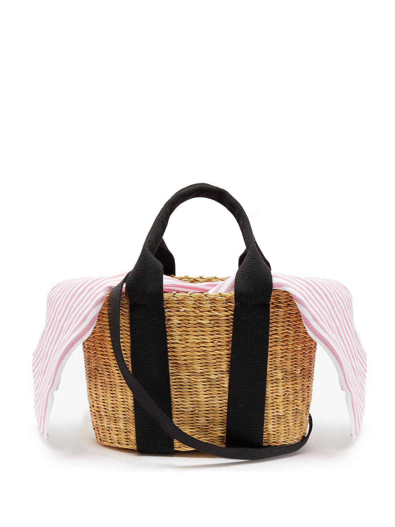 8d5690c2a600 Muuñ. Women s Caba Mini Canvas And Woven Straw Bag