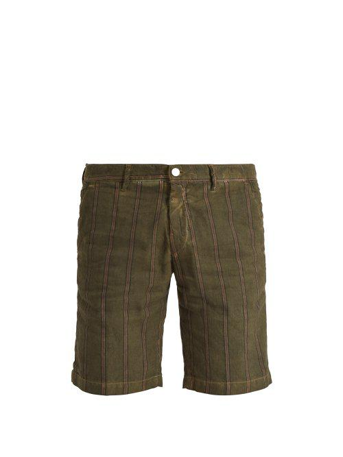 Slim-fit Striped Linen And Cotton-blend Shorts Massimo Alba vHUh4ANvu