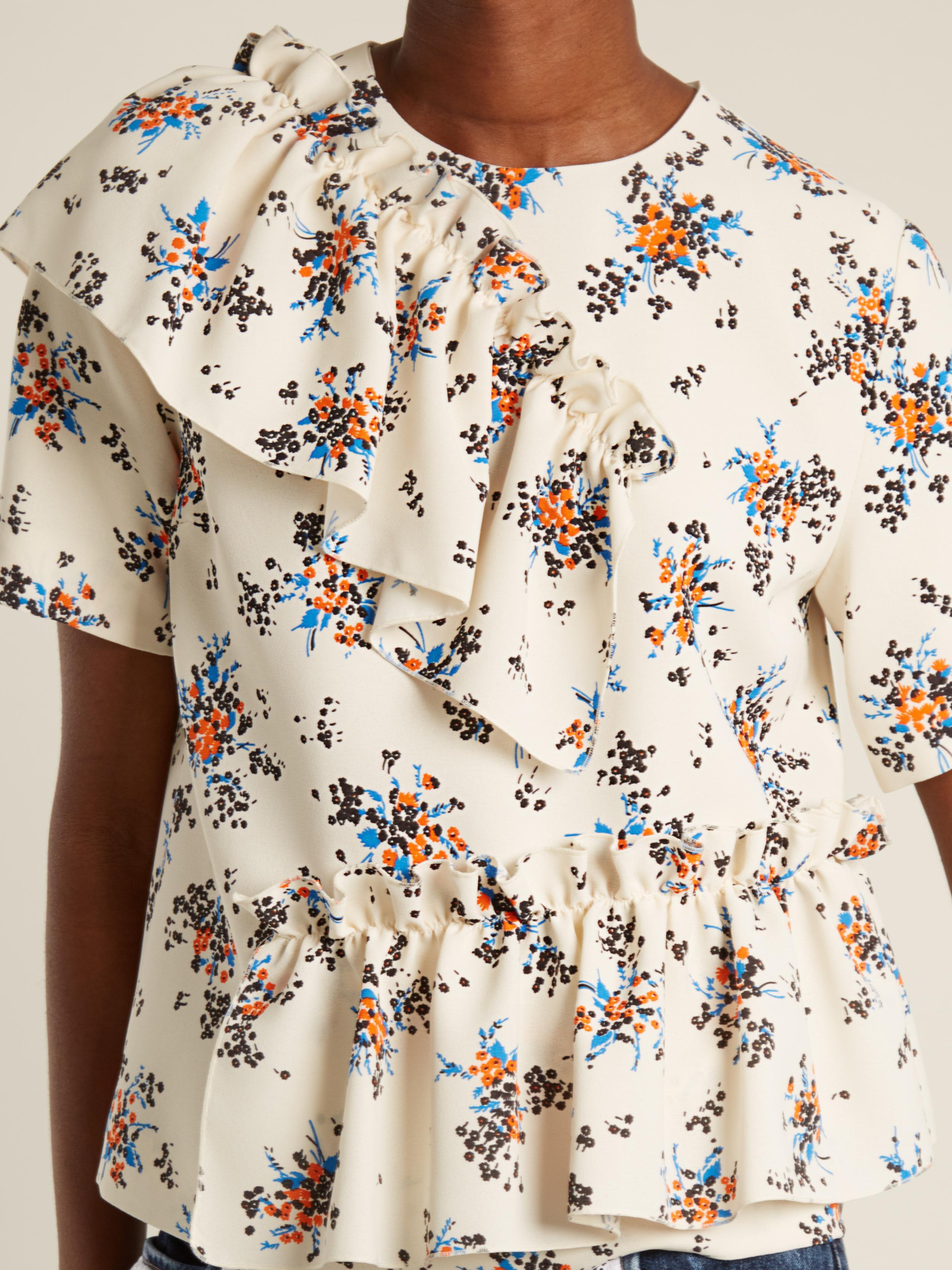 Drop Shipping Bulk Designs Asymmetric-ruffle floral-print crepe dress Msgm Clearance Purchase Outlet New SwGjkWnc