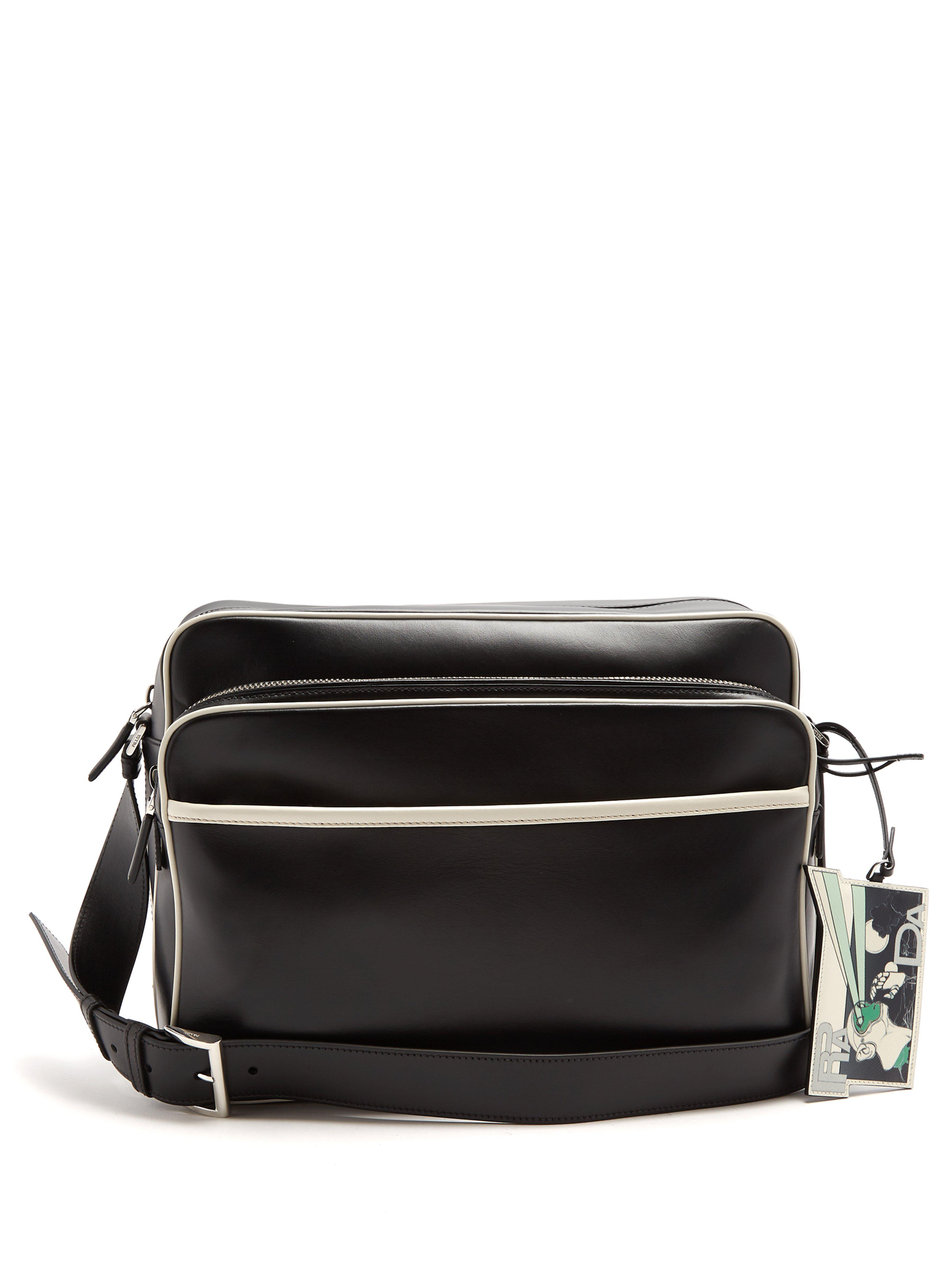 a9c5501bd151 Prada Contrast-piping Leather Messenger Bag in Black for Men - Lyst
