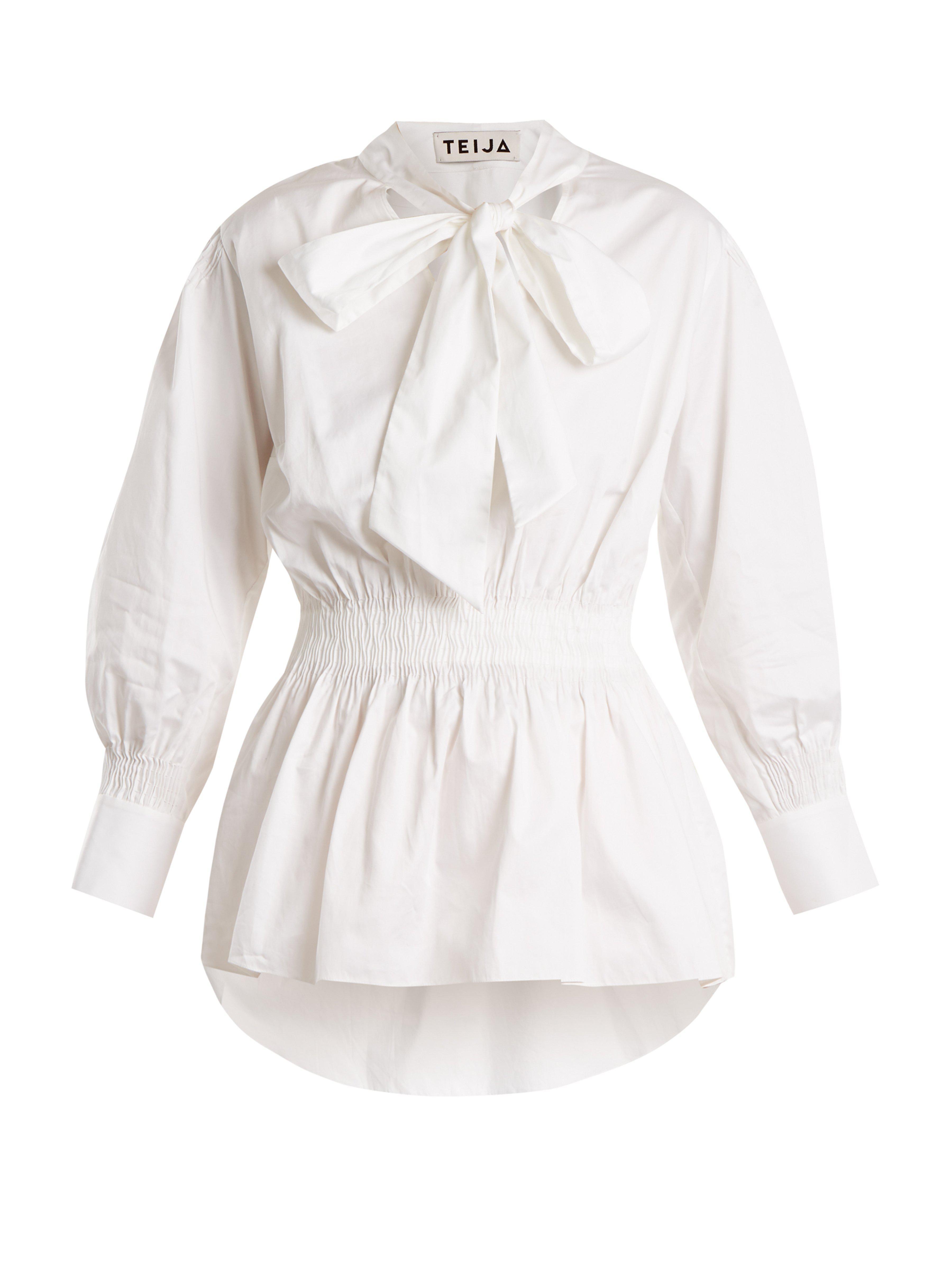 Cotton Teija Neck Top Tie Lyst White wnaq6A