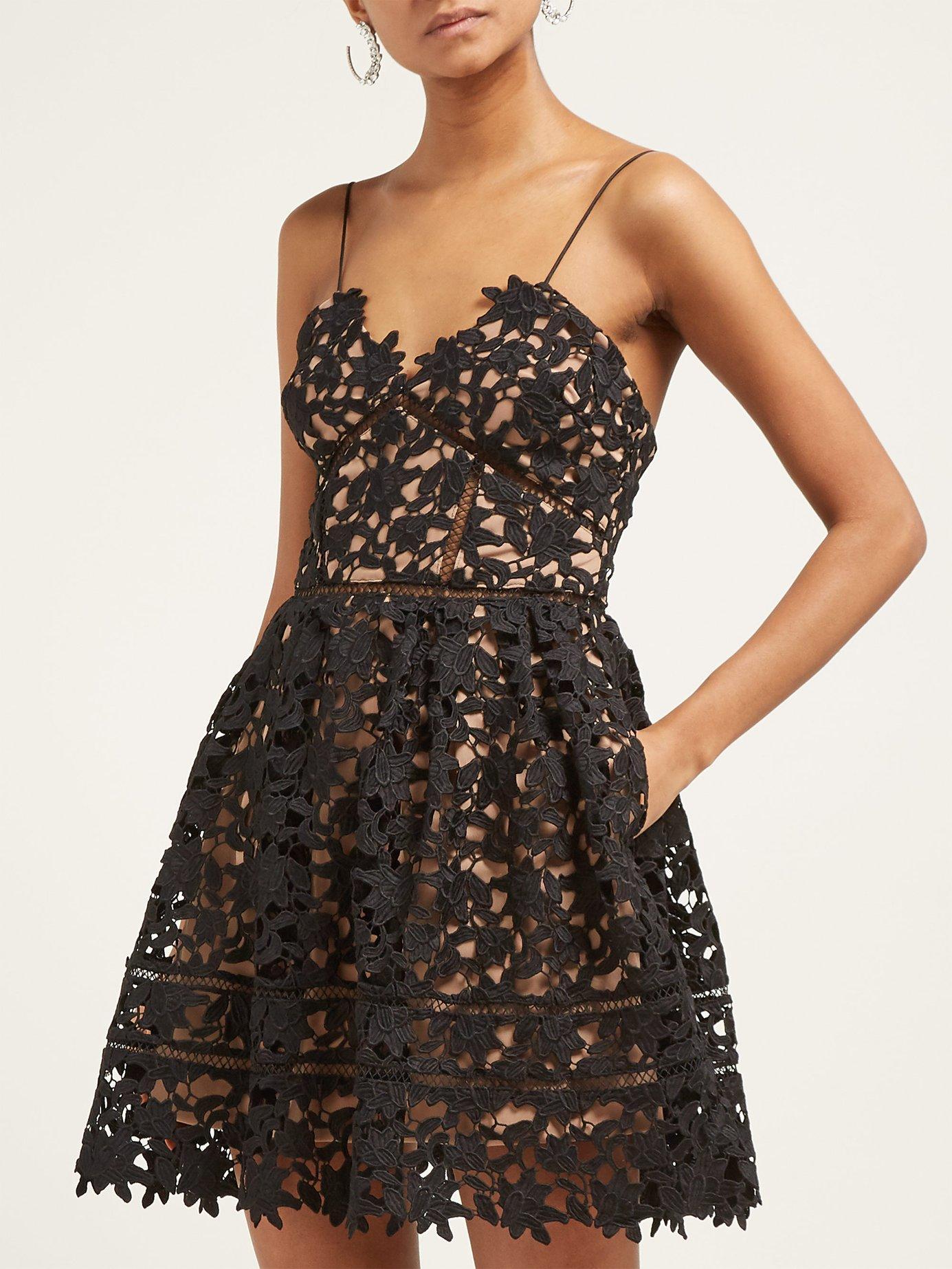 09a02d70a655f6 Lyst - Self-Portrait Azaelea Floral Lace Mini Dress in Black