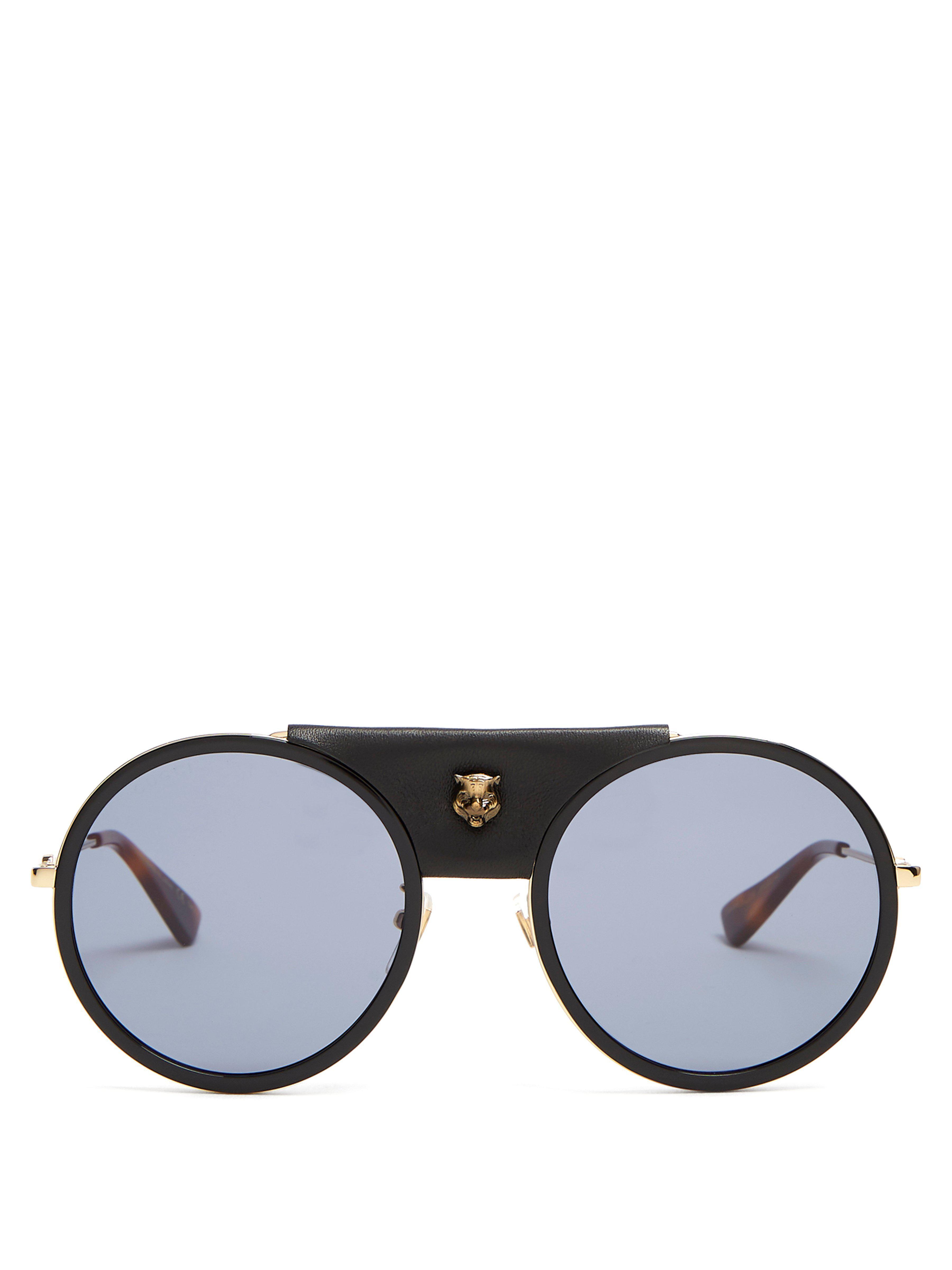Lyst - Lunettes de soleil rondes en métal finitions cuir Gucci pour ... 4d2421139a12