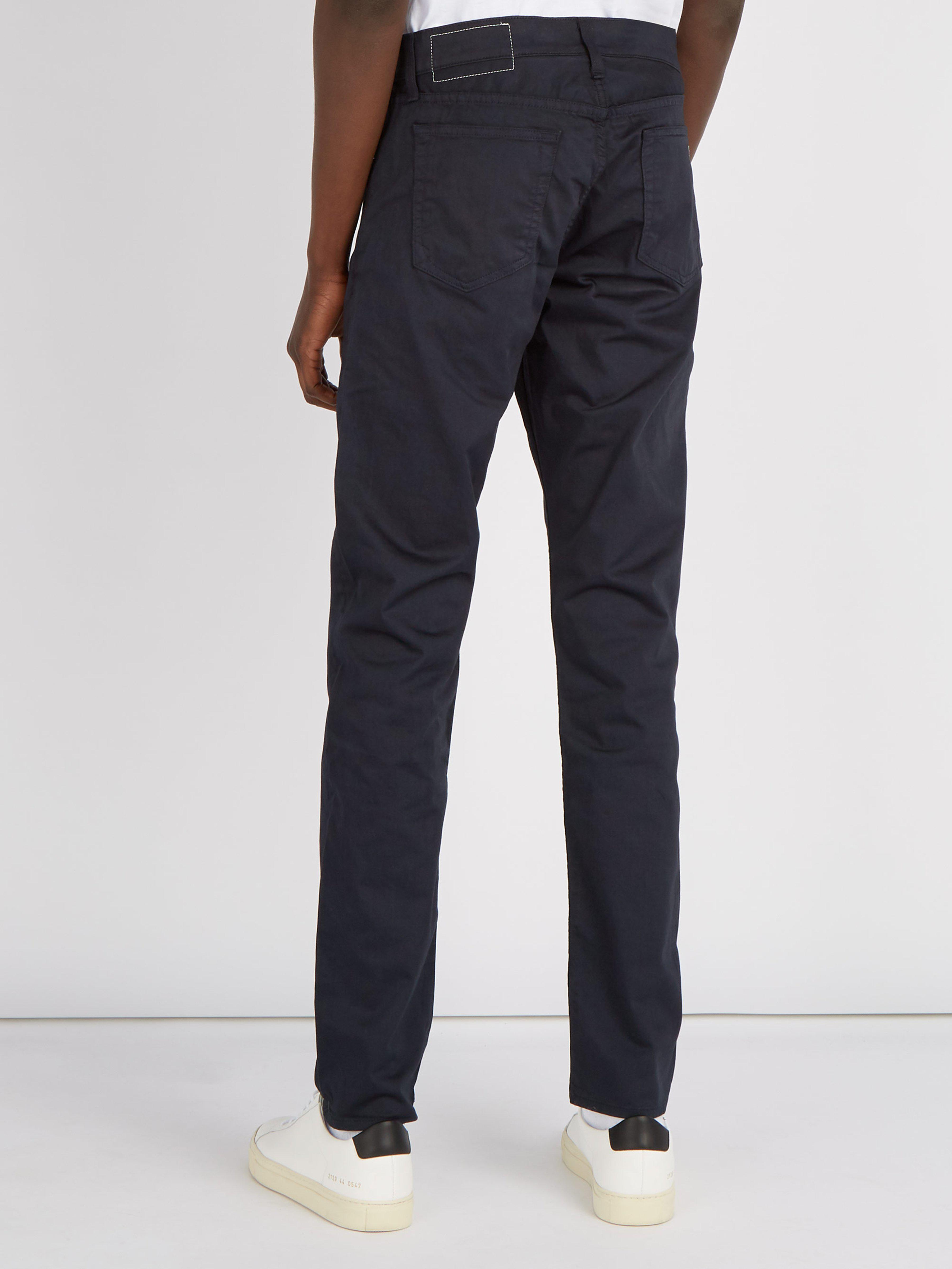 Rag & Bone Cotton Mid Rise Slim Leg Chino Trousers in Navy (Blue) for Men