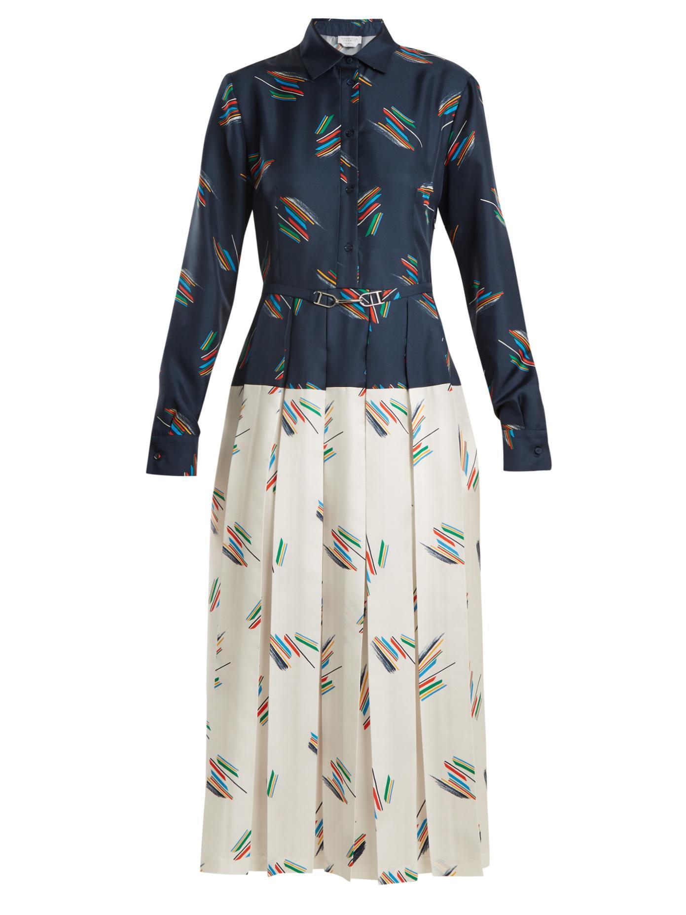 Rosa spread-collar abstract-print silk dress Gabriela Hearst xXu5hvSJRG