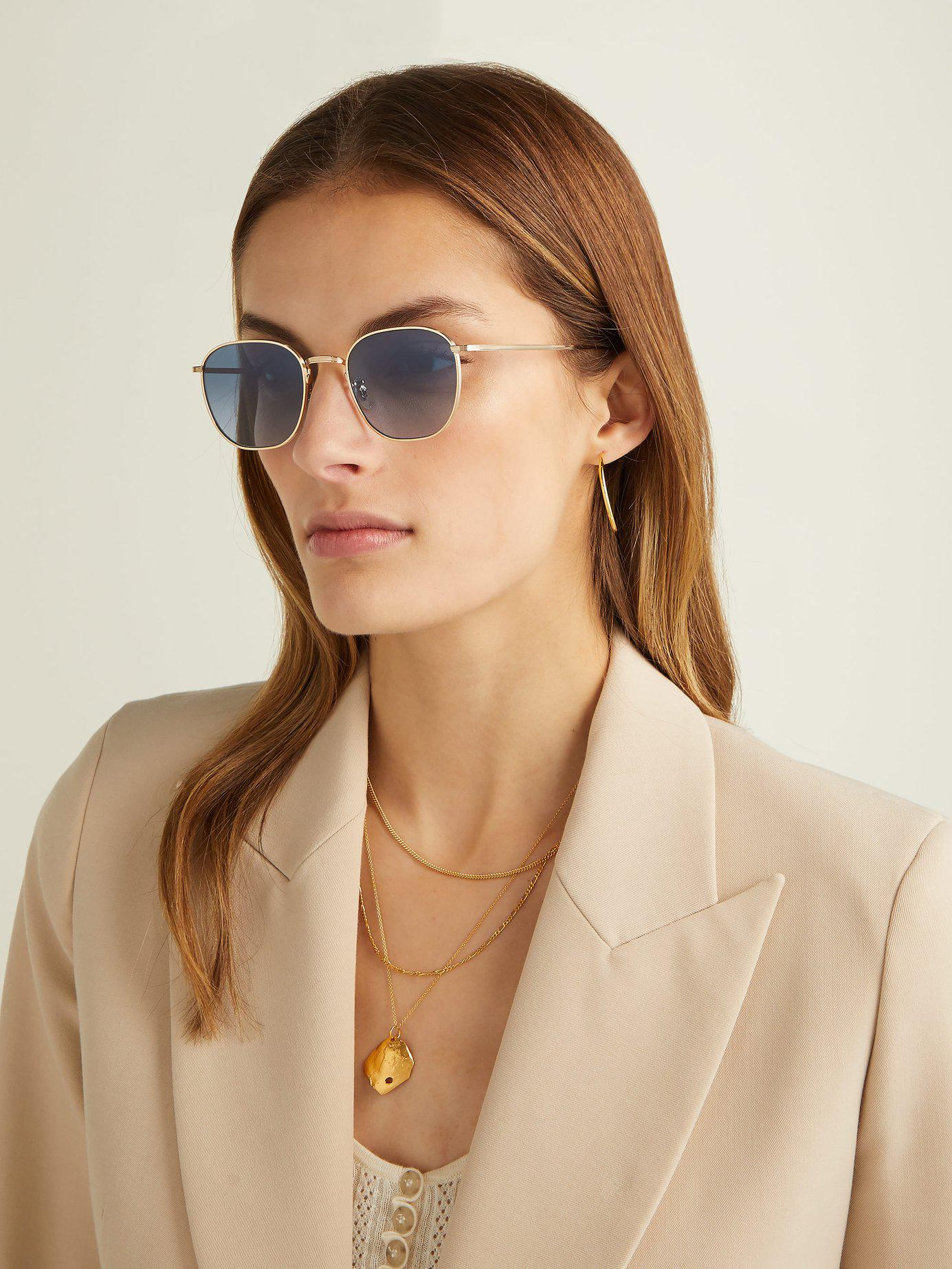 85607fa0009 Lyst - The Row X Oliver Peoples Board Meeting 2 Square Sunglasses in  Metallic