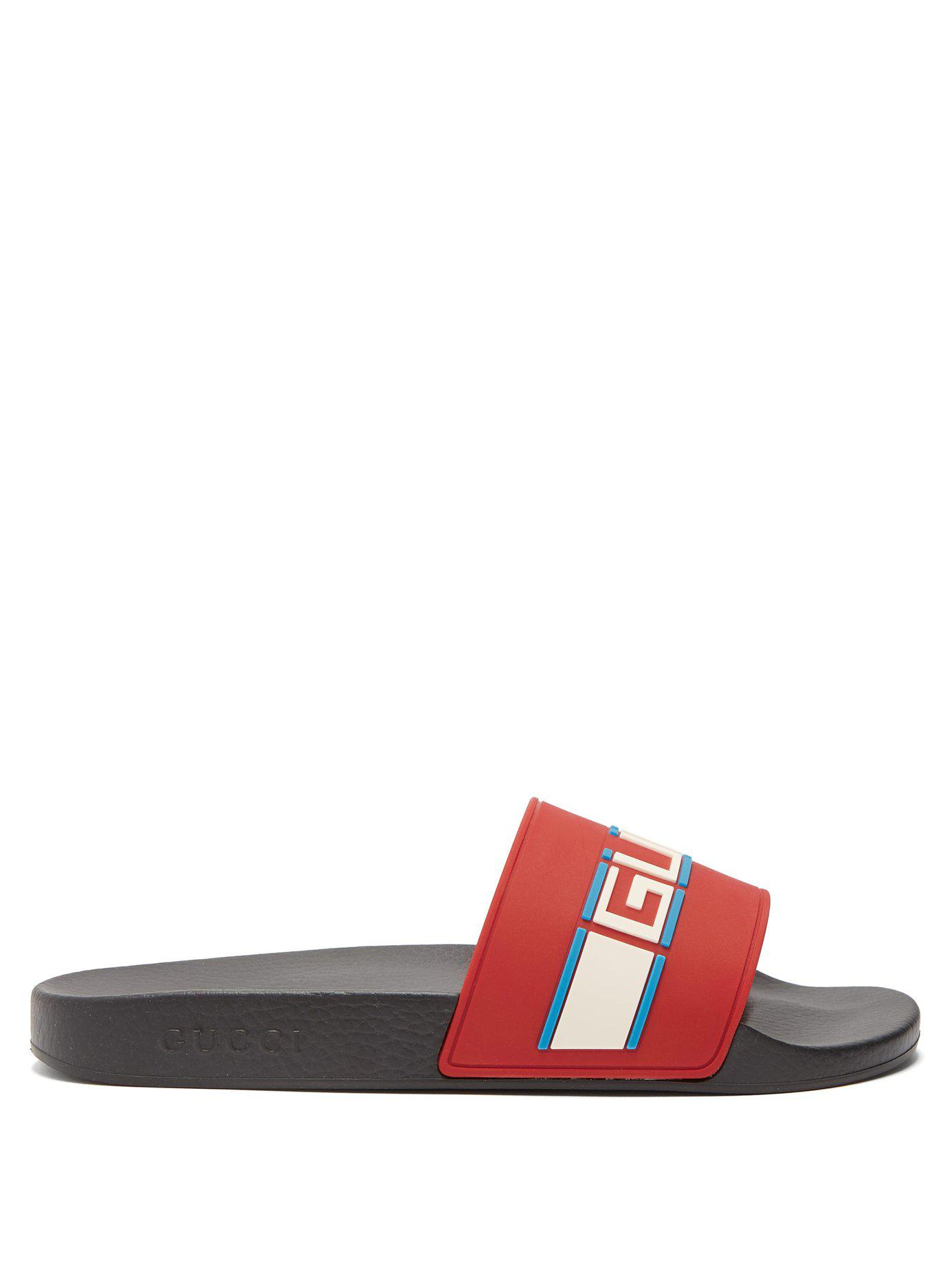 76fdd171ef45f Lyst - Gucci Pursuit Stripe Logo Sliders in Red for Men - Save 27%