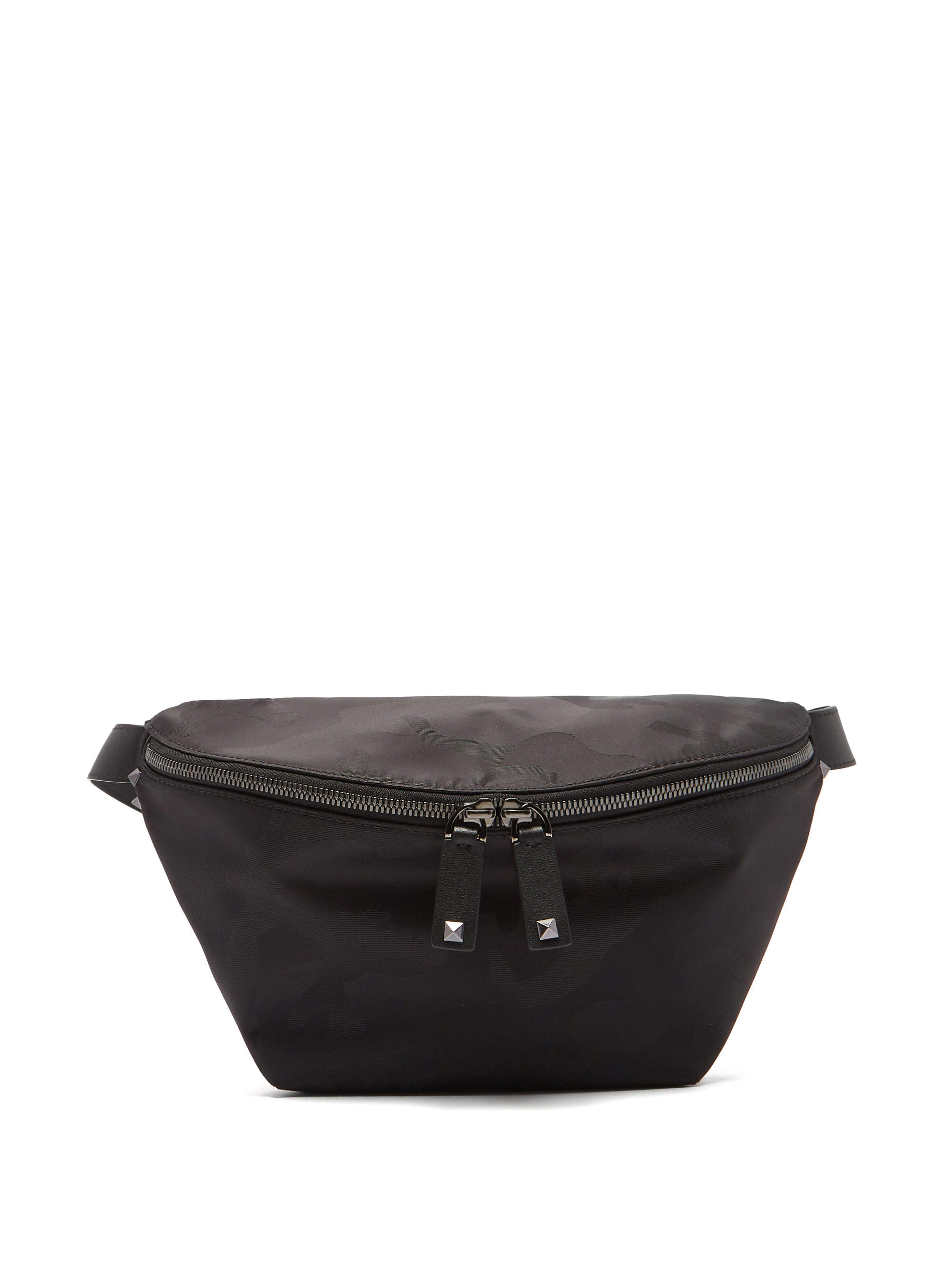 f3b5f5ecba0 Valentino Rockstud Camouflage Jacquard Nylon Belt Bag in Black for ...