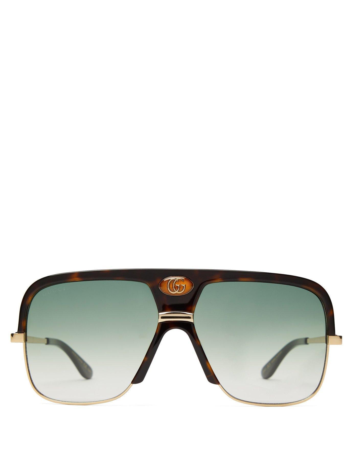 3930b09ffbf Lyst - Gucci Gg Aviator Frame Tortoiseshell Acetate Sunglasses for Men