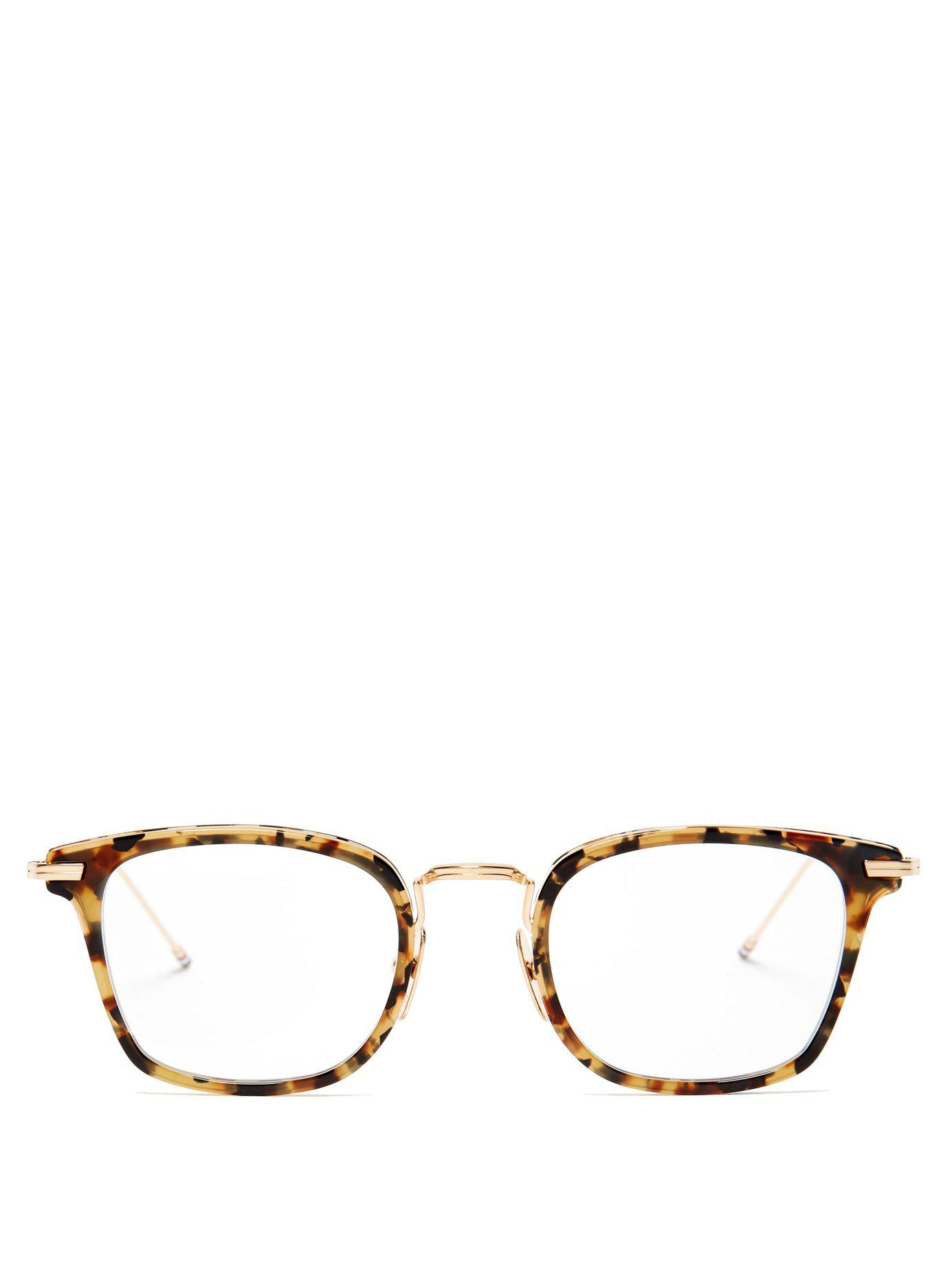 64ff37f4a6 Thom Browne. Men s Brown D Frame Tortoiseshell Acetate And Metal Glasses