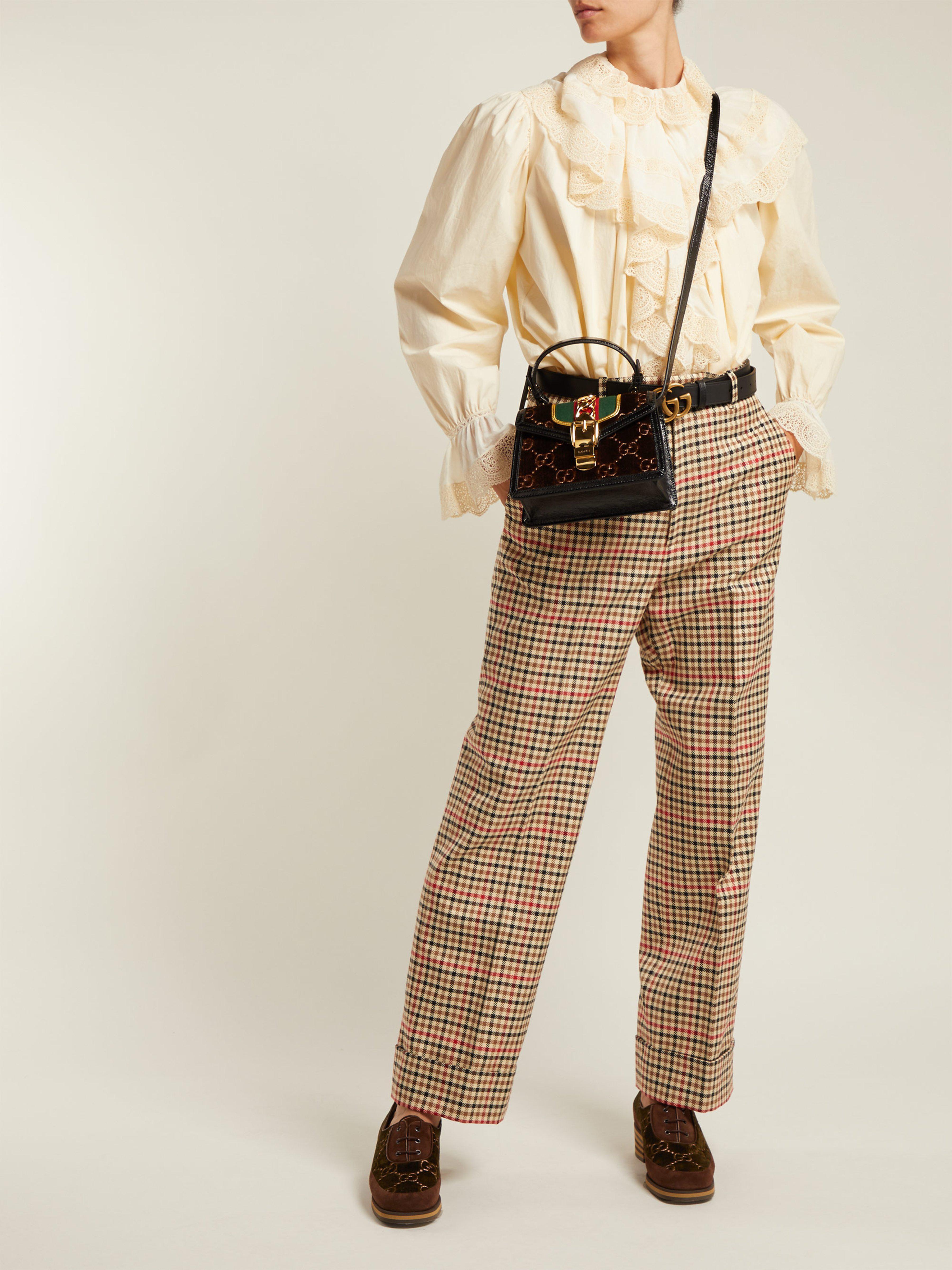 40a0aad7571448 Gucci Sylvie Mini Velvet Cross Body Bag in Brown - Lyst
