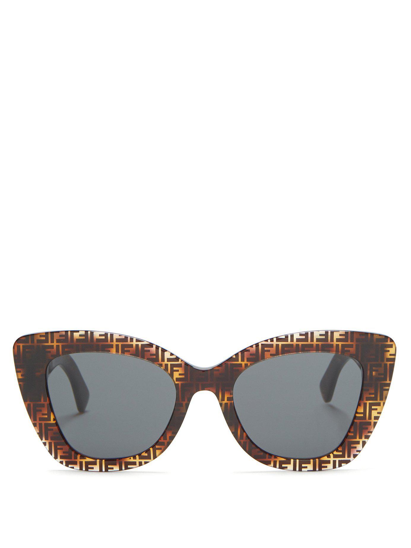 169e5d70066 Lyst - Fendi Ff Acetate Cat Eye Sunglasses in Brown
