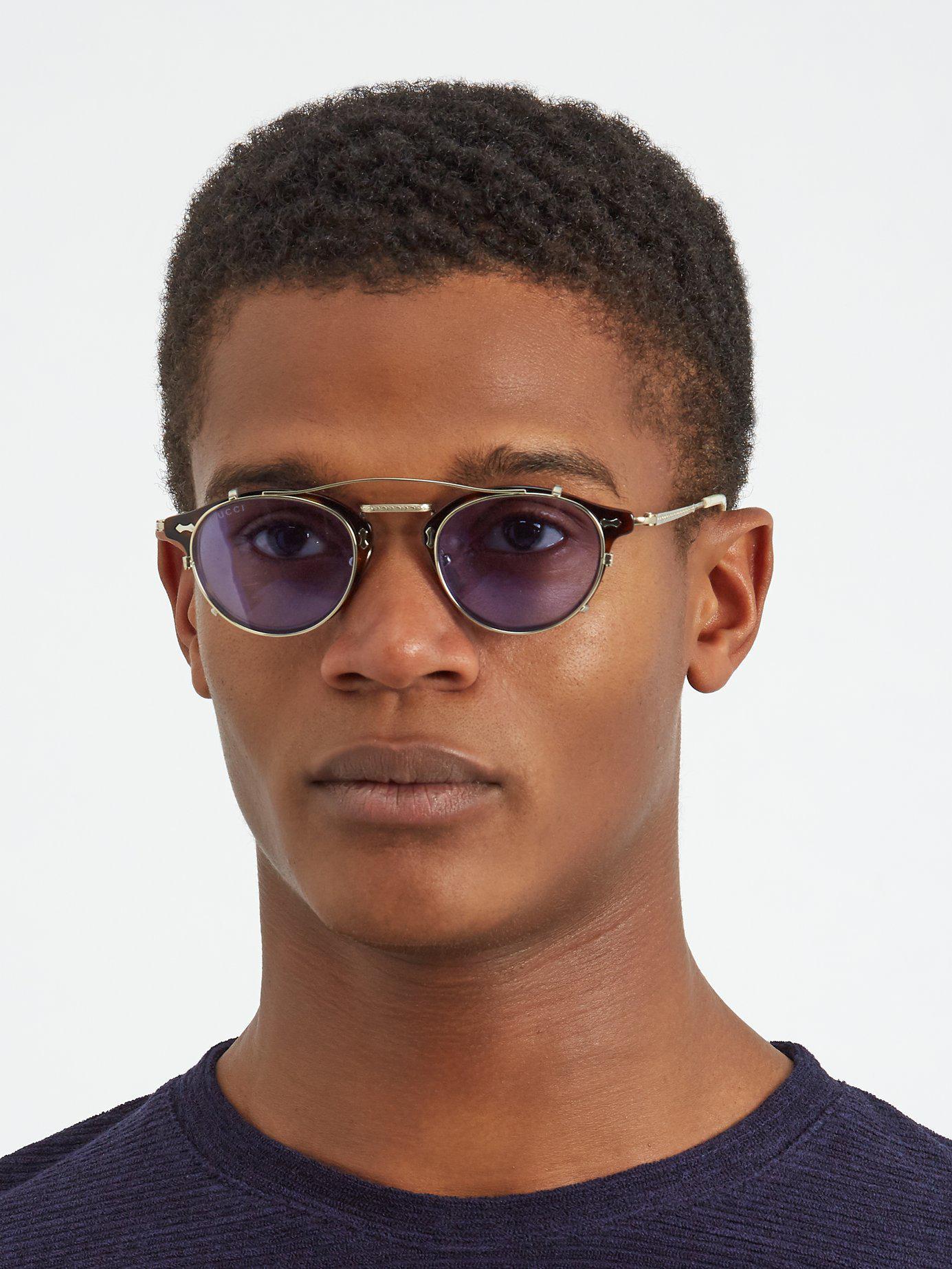 fcca3826cda Gucci - Brown Detachable Lens Round Frame Acetate Sunglasses for Men -  Lyst. View fullscreen