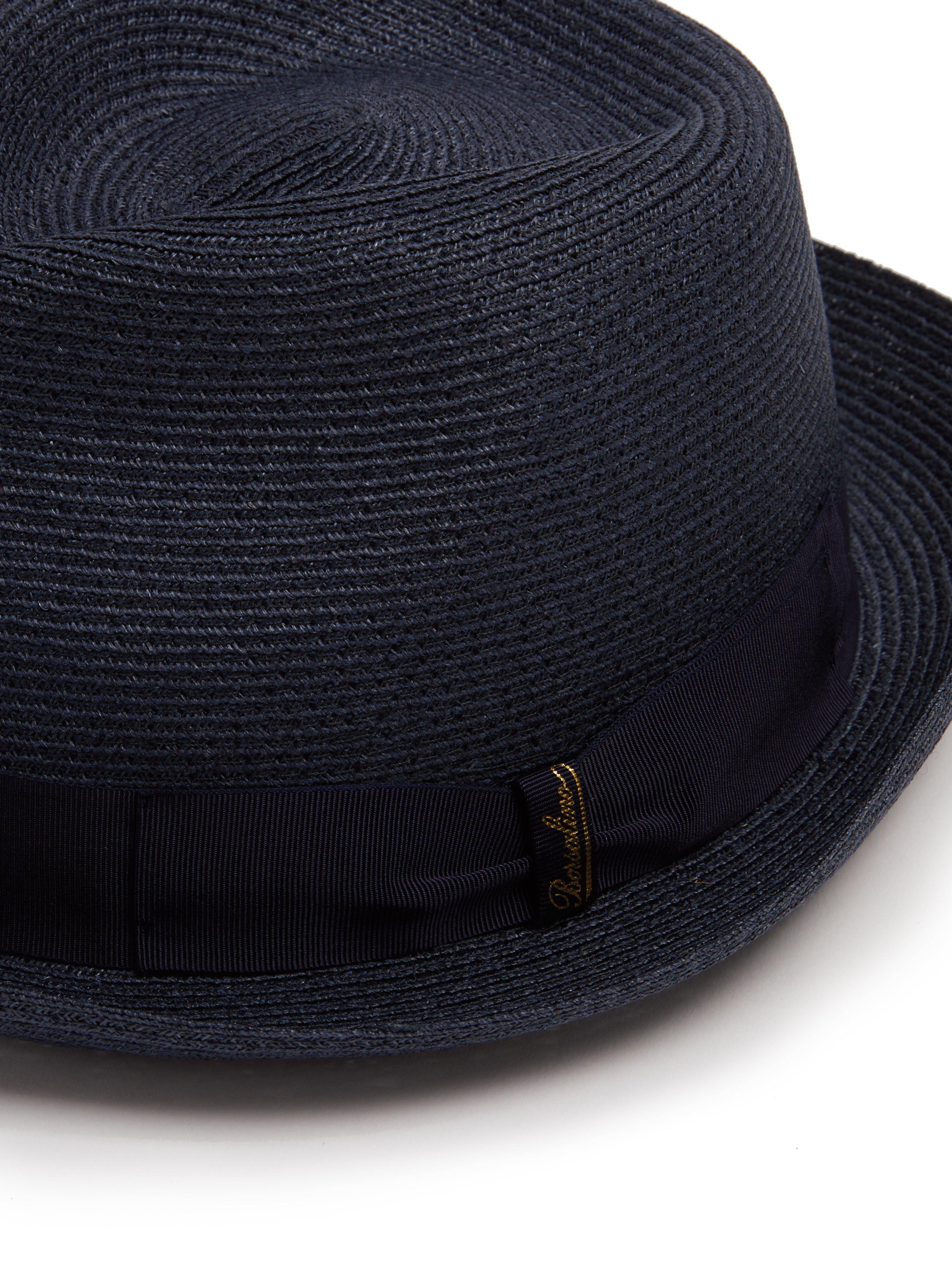d61043e139a Borsalino Block Colour Panama Hat in Blue for Men - Lyst