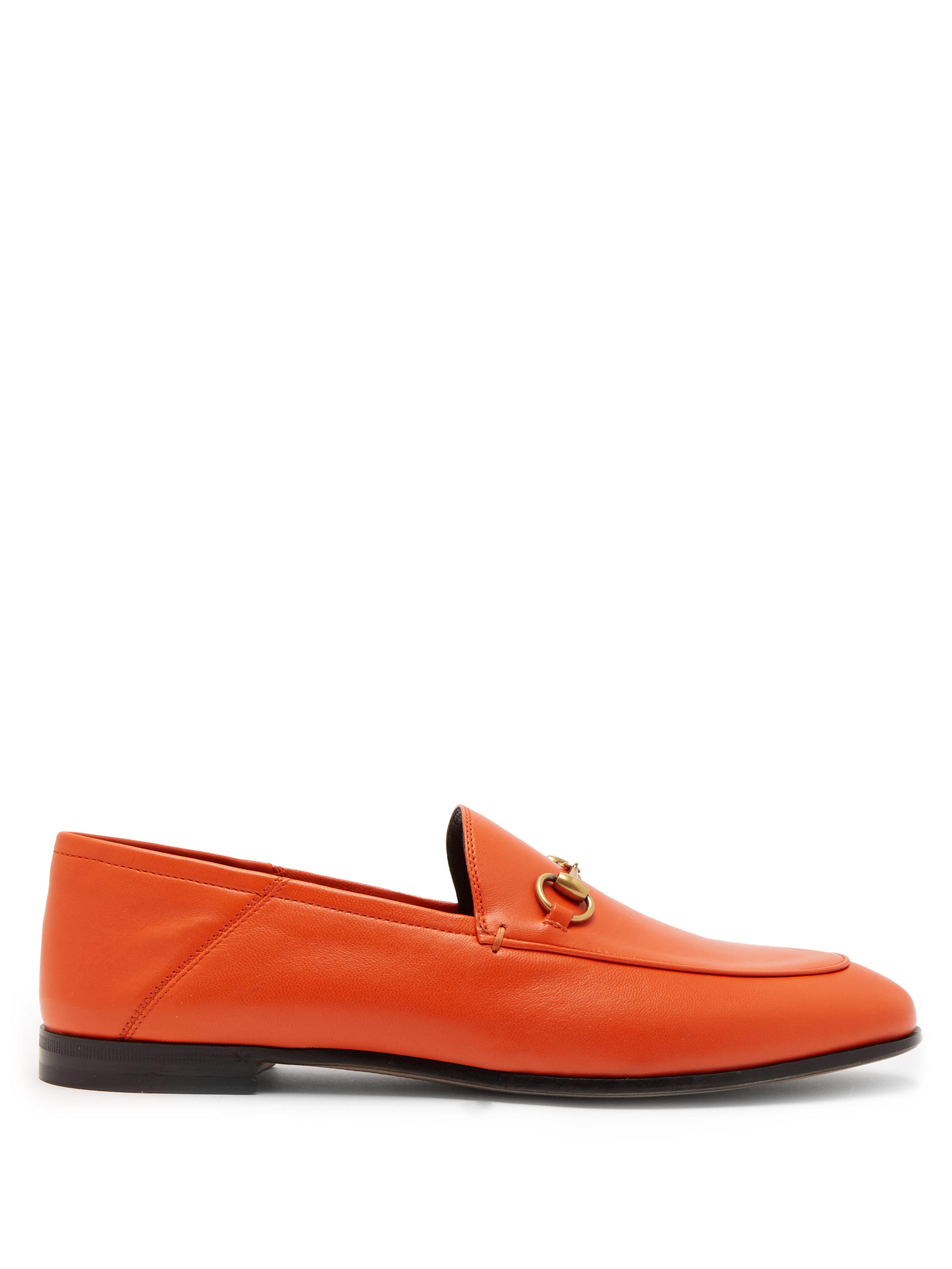 2890a2cfe3d Gucci Brixton Collapsible Heel Leather Loafers in Orange - Lyst