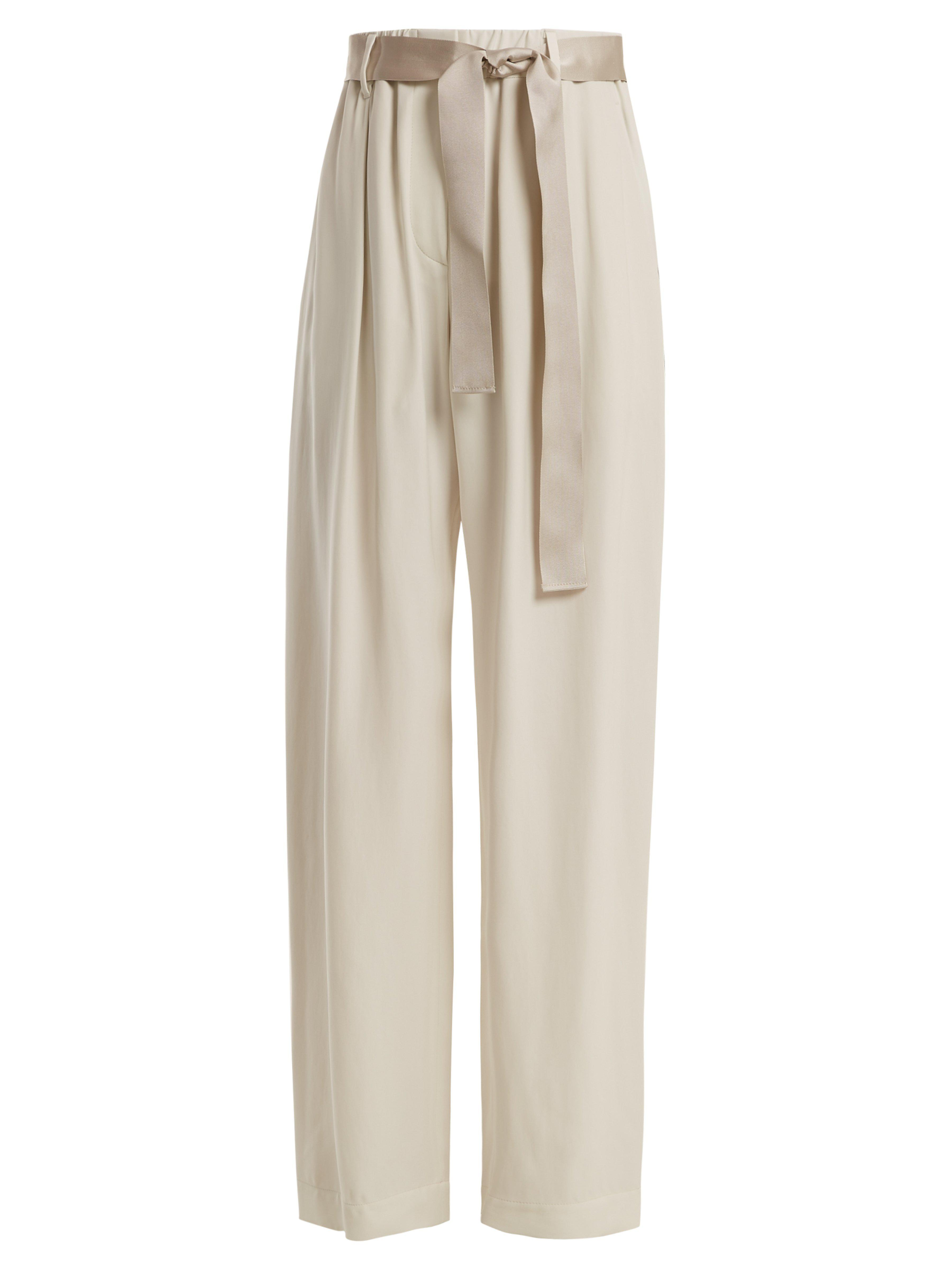c33c775cd39aa Brunello Cucinelli - White Bead Embellished Wide Leg Trousers - Lyst. View  fullscreen
