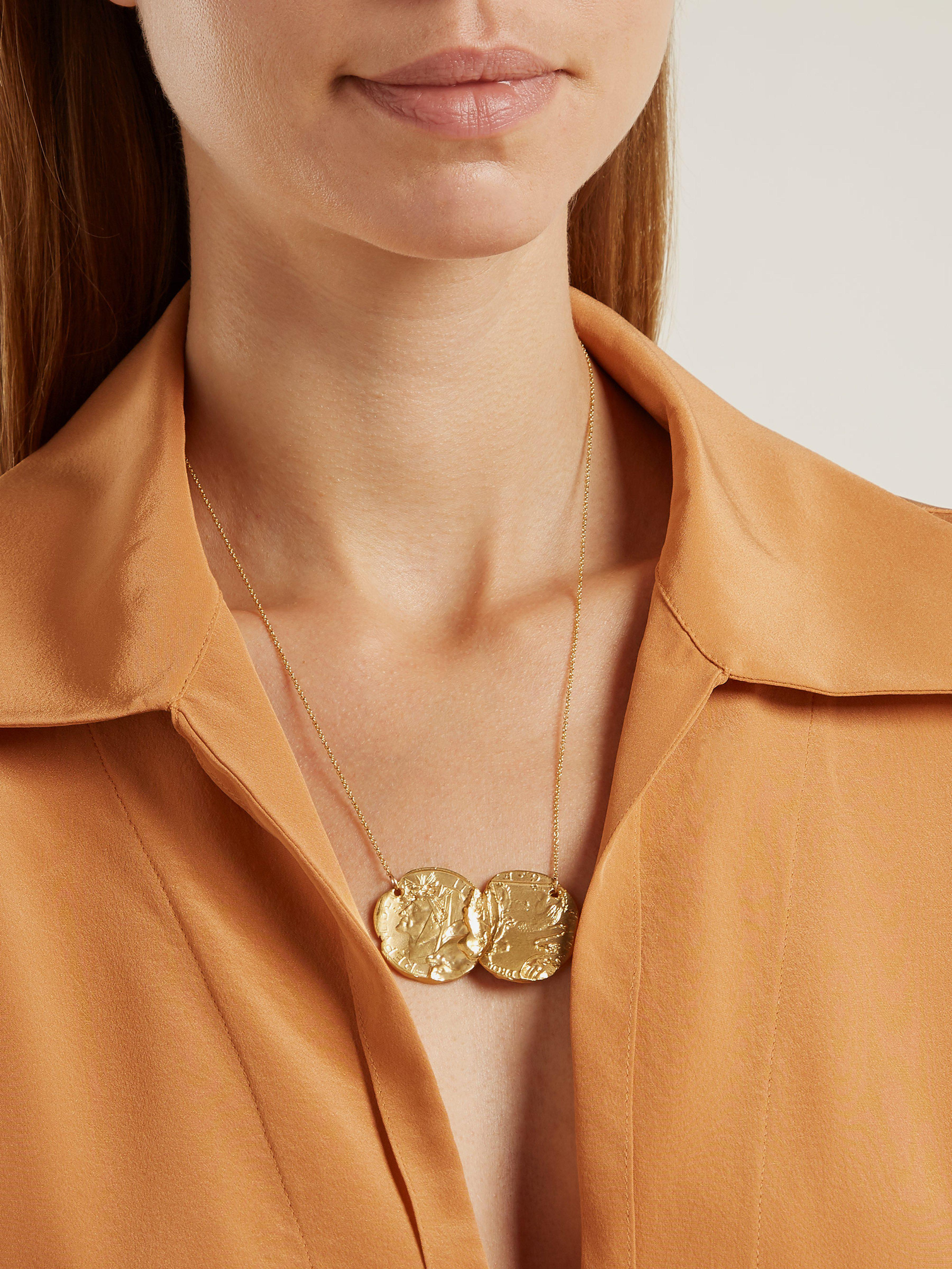 Alighieri Silk Dante And The Lion Gold-plate Coin Pendant in Metallic