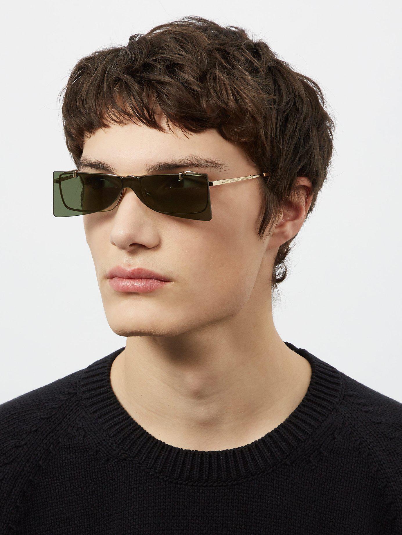 9e25fefa58 Lyst - Gucci Square Frame Metal Sunglasses in Metallic for Men