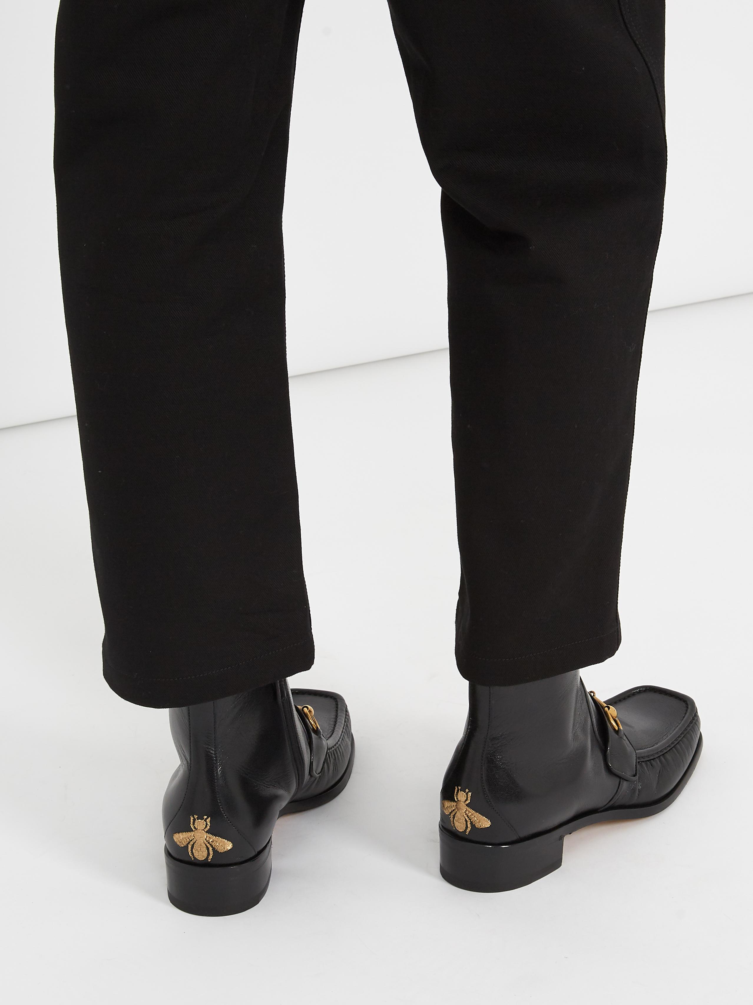 lyst gucci vegas leather boots in black for men