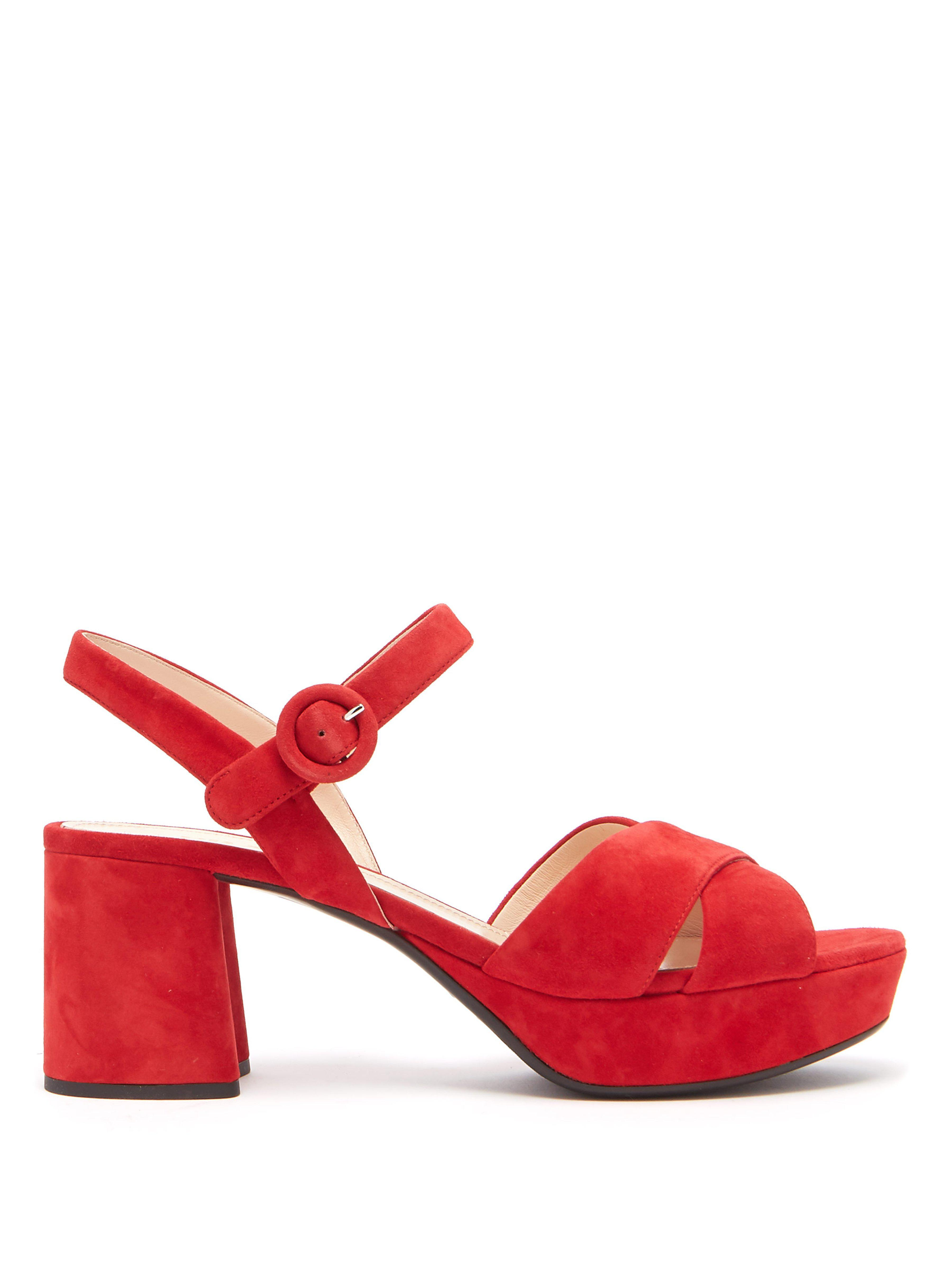 ed0be0607e13 Prada Suede Platform Sandals in Red - Lyst